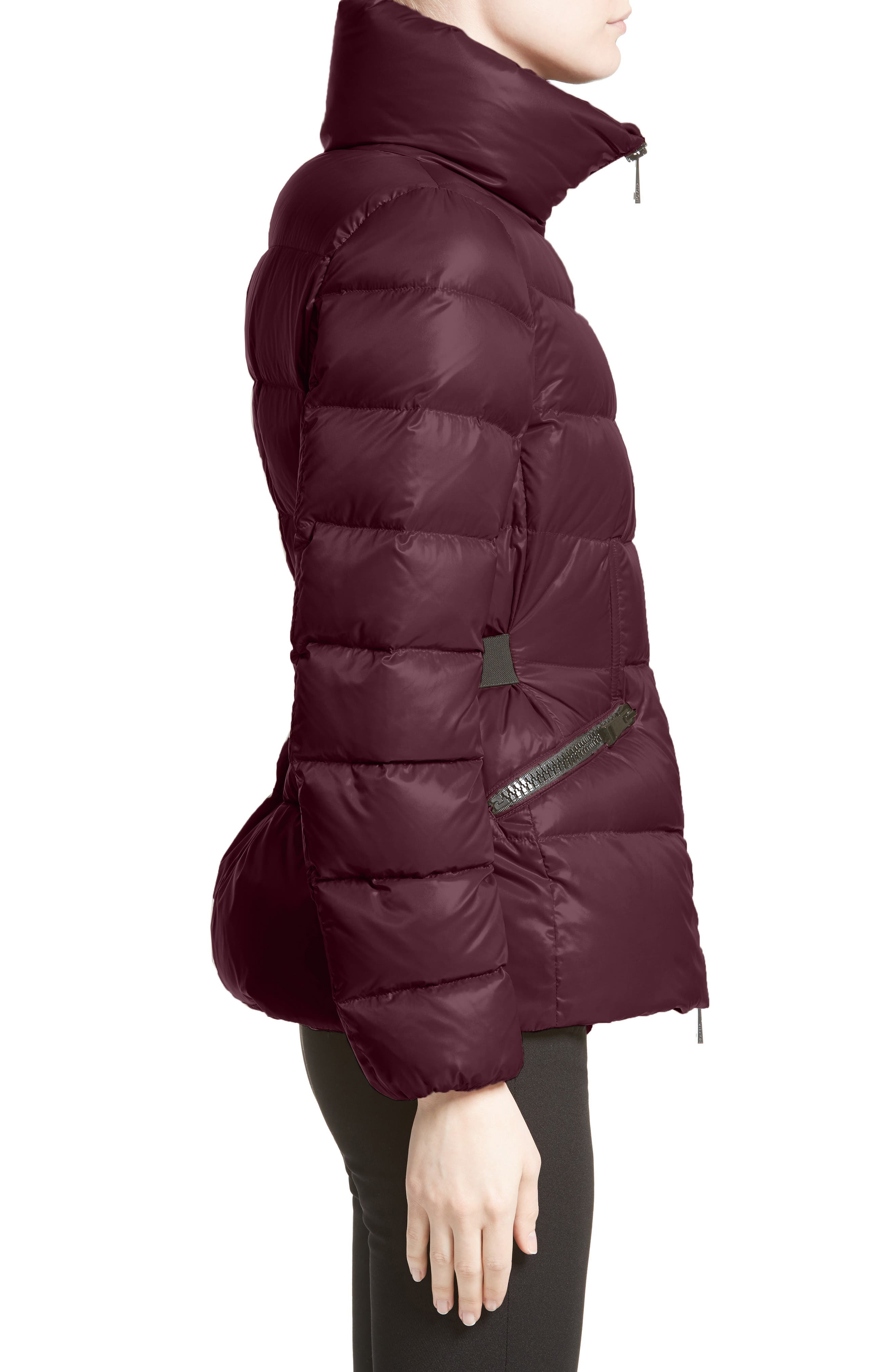 Danae Down Puffer Jacket,                             Alternate thumbnail 3, color,                             BURGUNDY