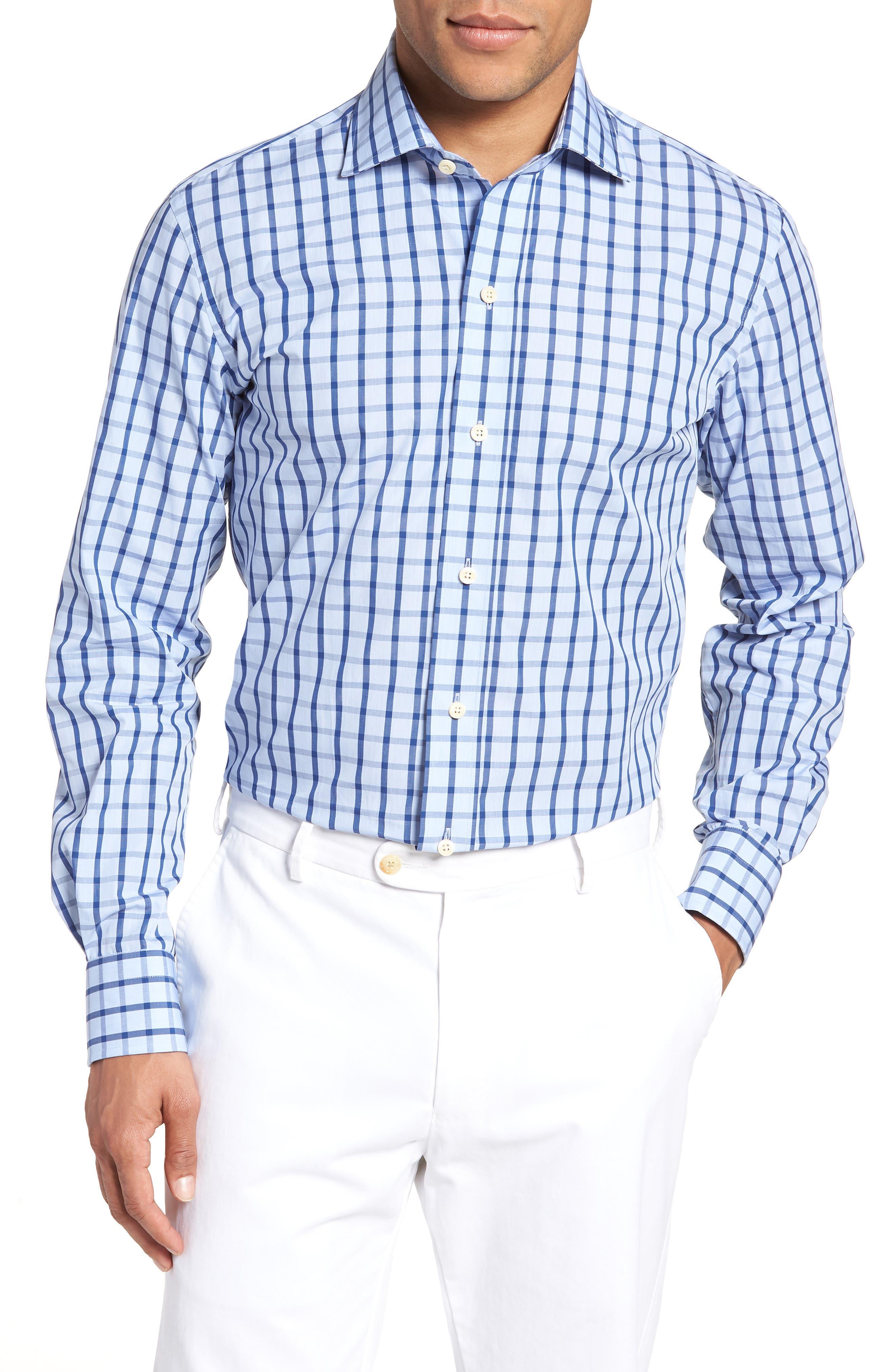 Hayden Trim Fit Windowpane Dress Shirt,                             Main thumbnail 1, color,