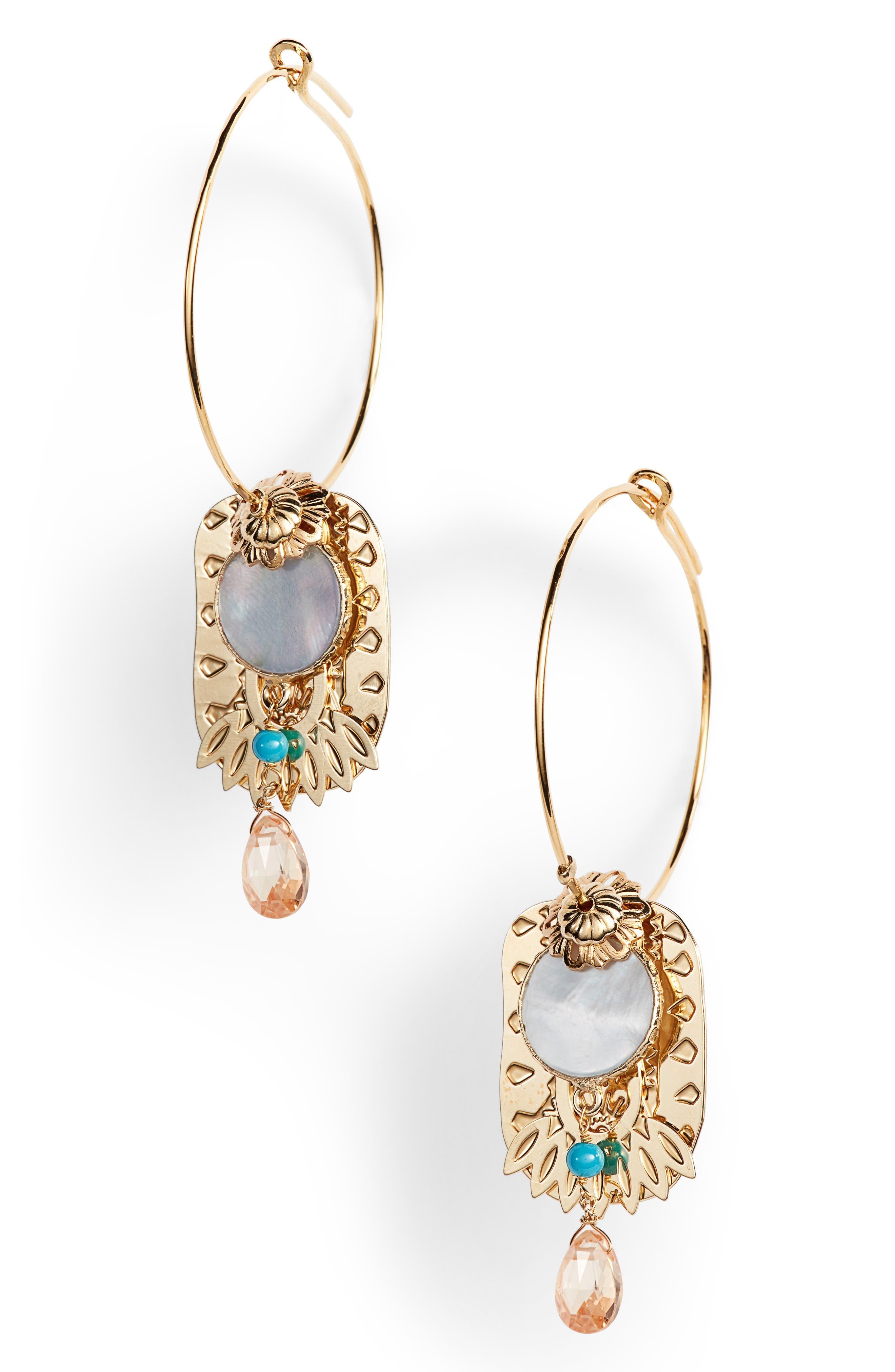 Hoop & Drop Earrings,                             Main thumbnail 1, color,                             400