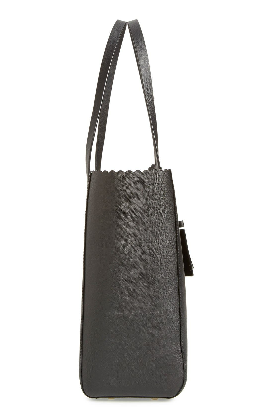 KATE SPADE NEW YORK,                             'cape drive - hallie' scalloped saffiano leather tote,                             Alternate thumbnail 6, color,                             002