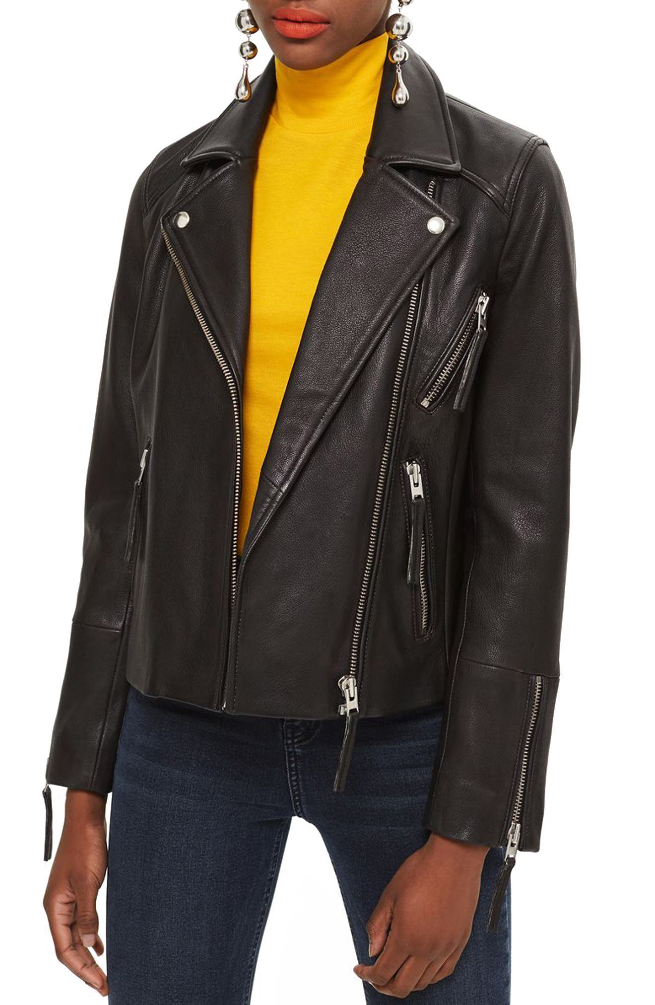 TOPSHOP,                             Dolly Leather Biker Jacket,                             Main thumbnail 1, color,                             BLACK