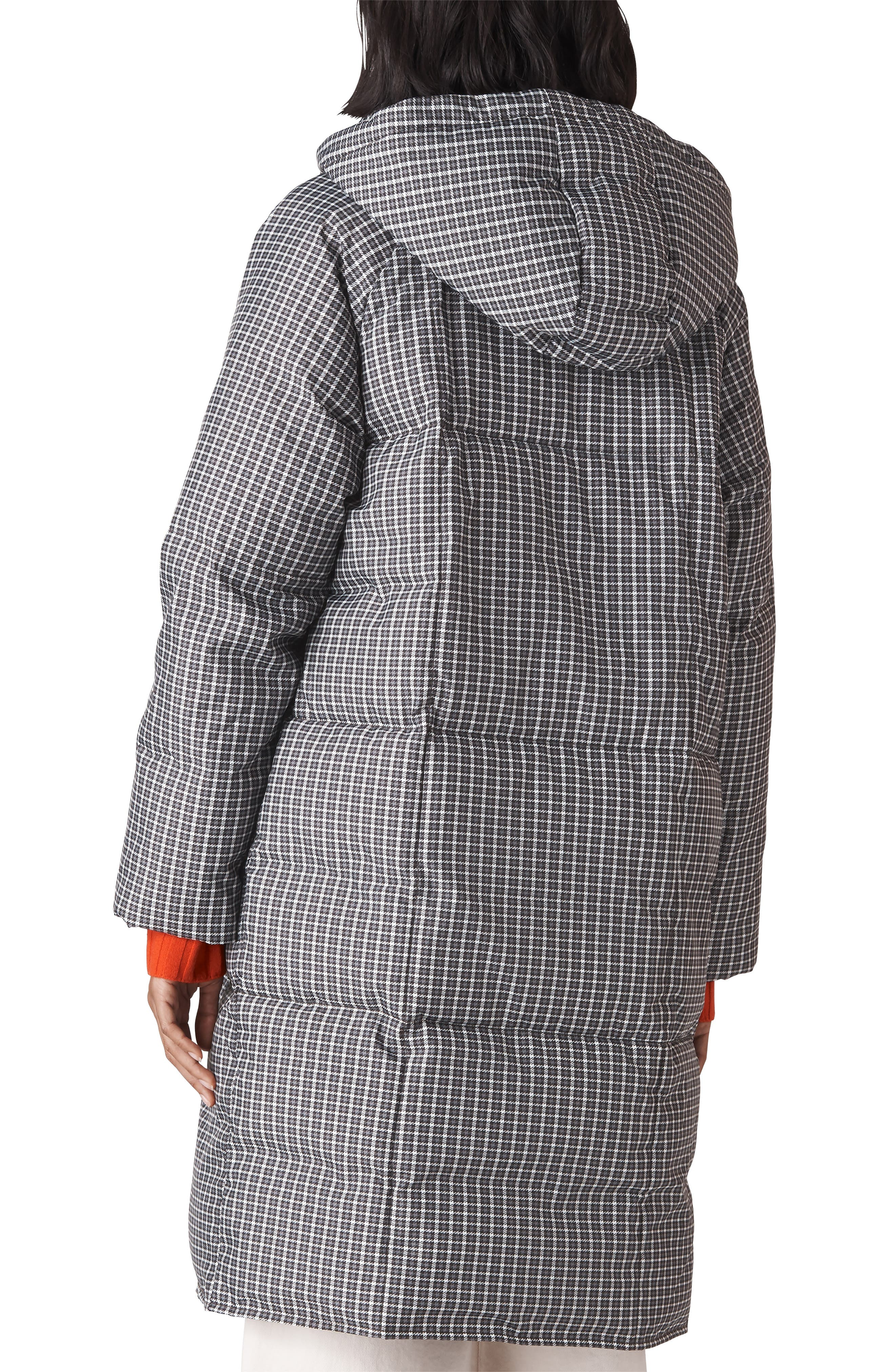 WHISTLES,                             Check Longline Puffer Coat,                             Alternate thumbnail 2, color,                             001