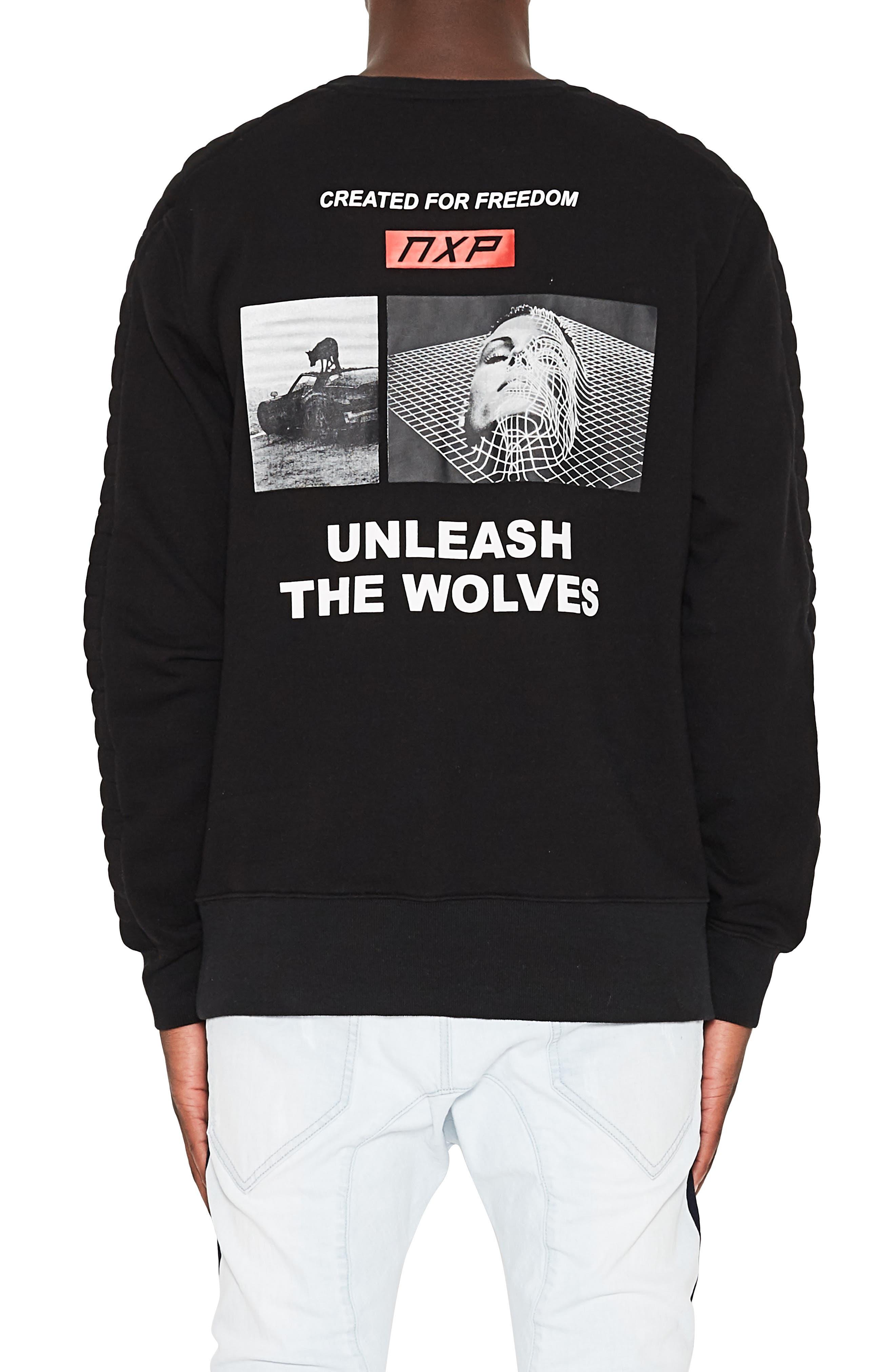 Unleashed Fleece Sweatshirt,                             Alternate thumbnail 2, color,                             JET BLACK