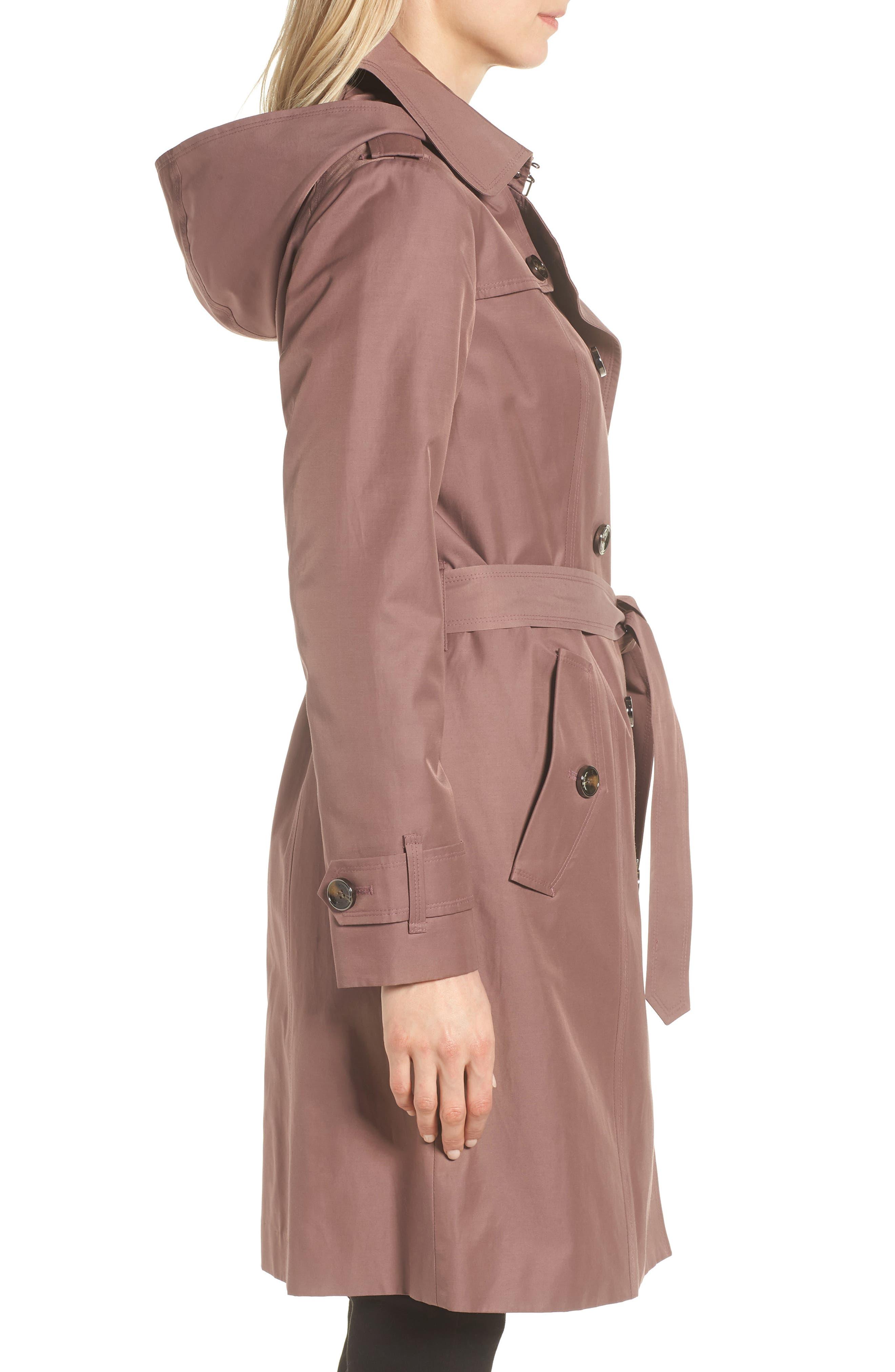 Knee Length Trench Coat,                             Alternate thumbnail 3, color,                             ADOBE