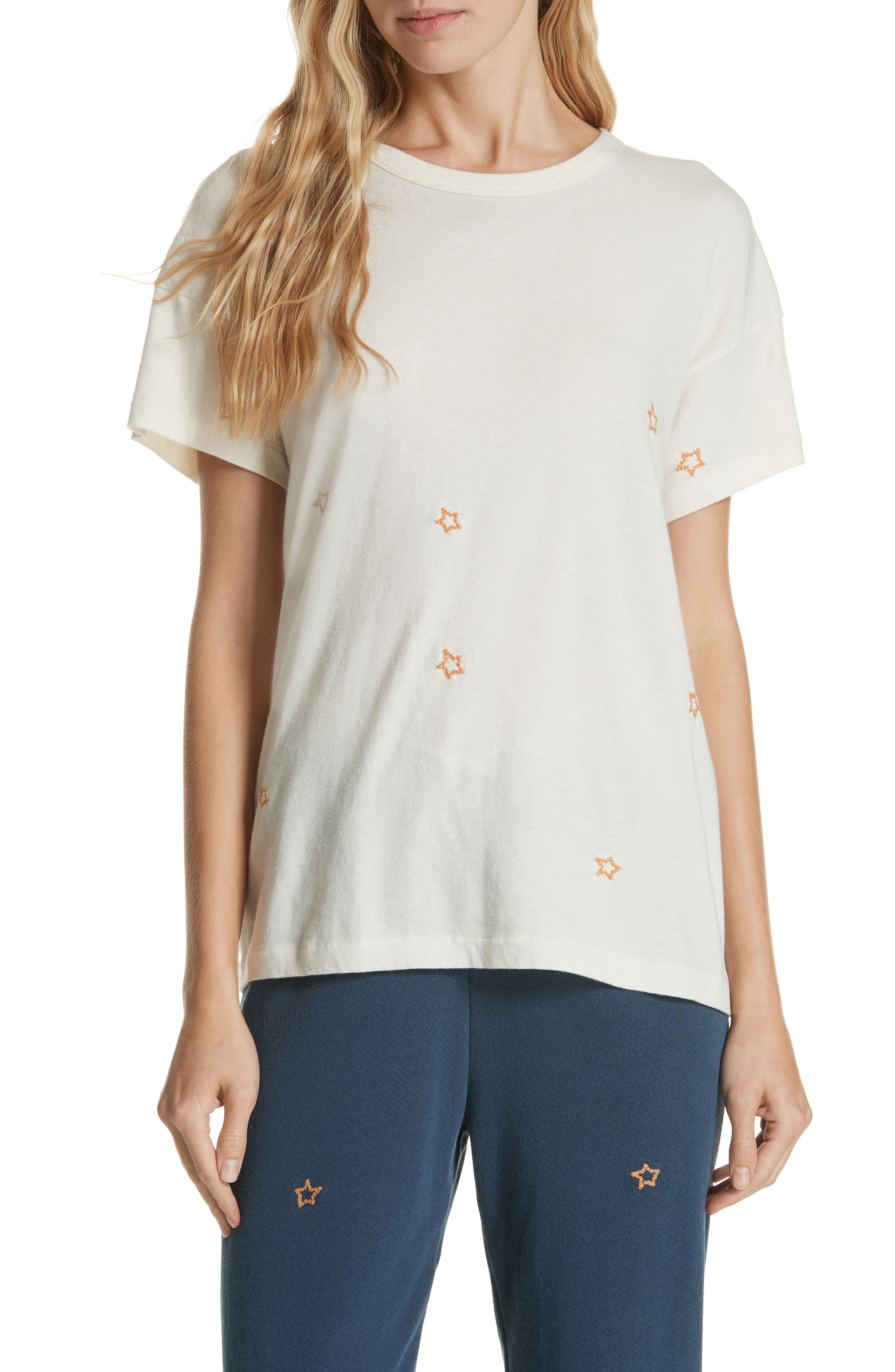 The Embroidered Boxy Crew Tee,                             Main thumbnail 1, color,                             WASHED WHITE W/ STAR EMB