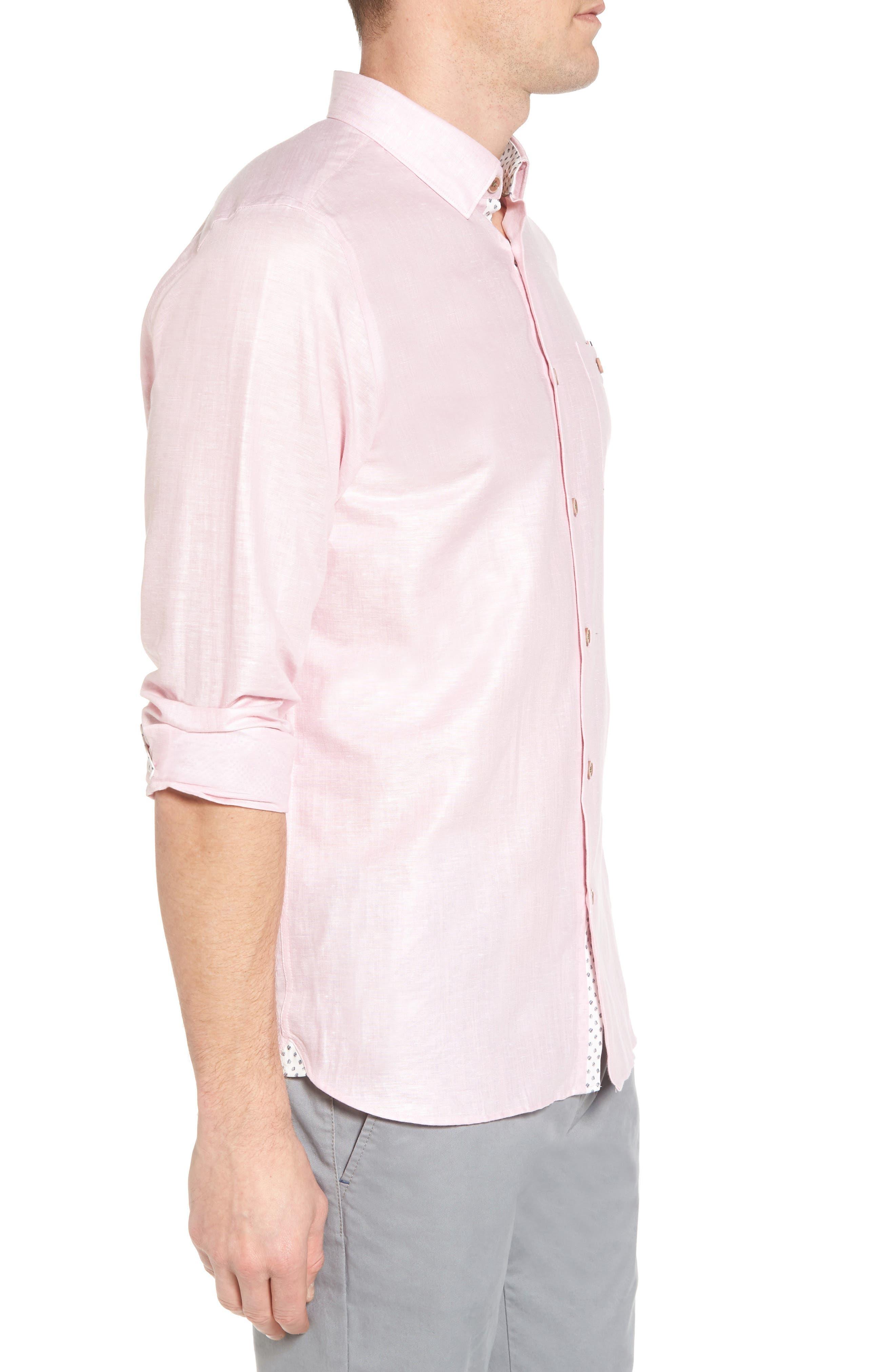 Linlins Herringbone Cotton & Linen Sport Shirt,                             Alternate thumbnail 15, color,