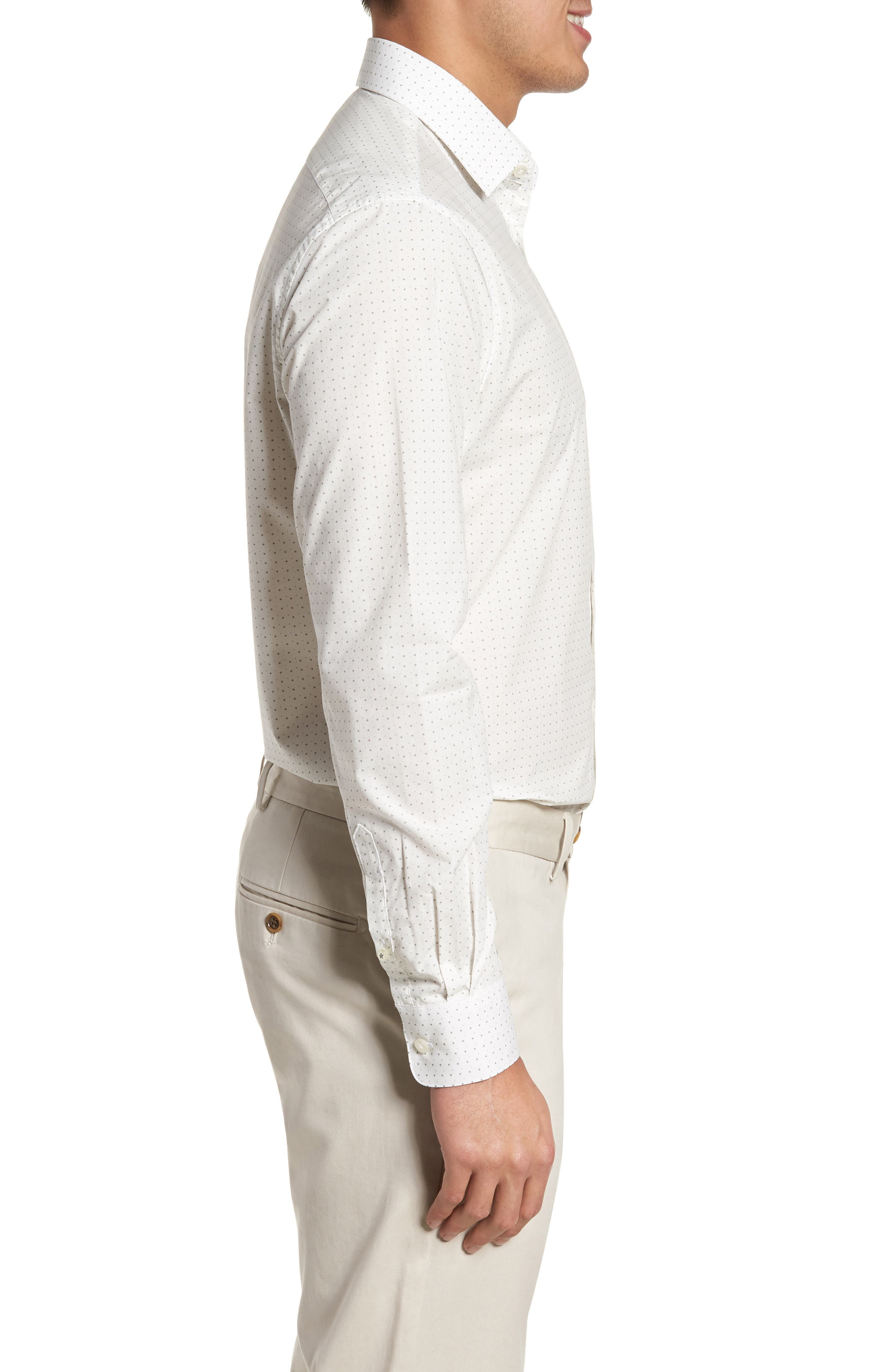 Regular Fit Diamond Dress Shirt,                             Alternate thumbnail 4, color,                             GRIFFIN GREY