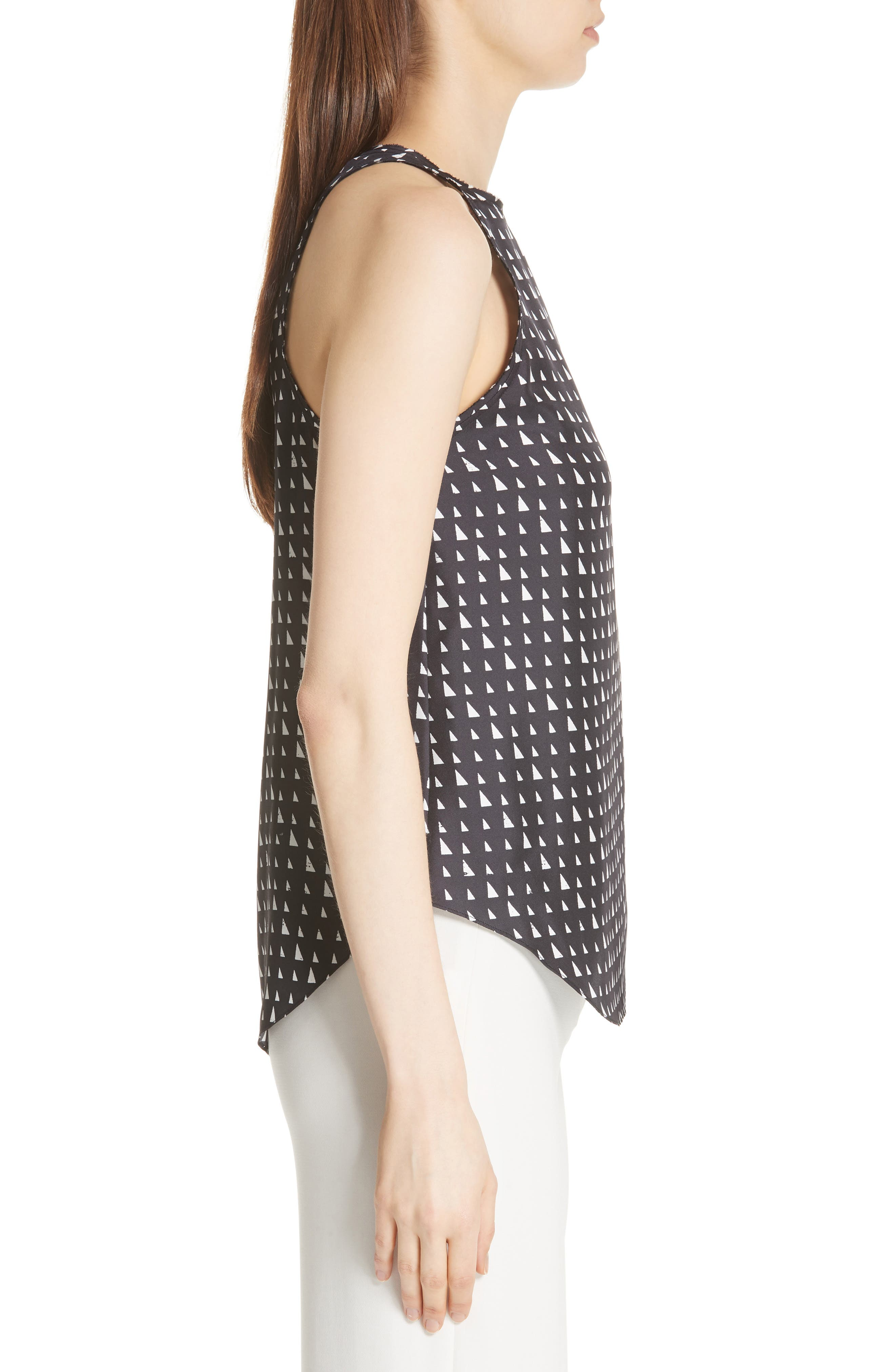 THEORY,                             Racerback Silk Shell Top,                             Alternate thumbnail 3, color,                             010