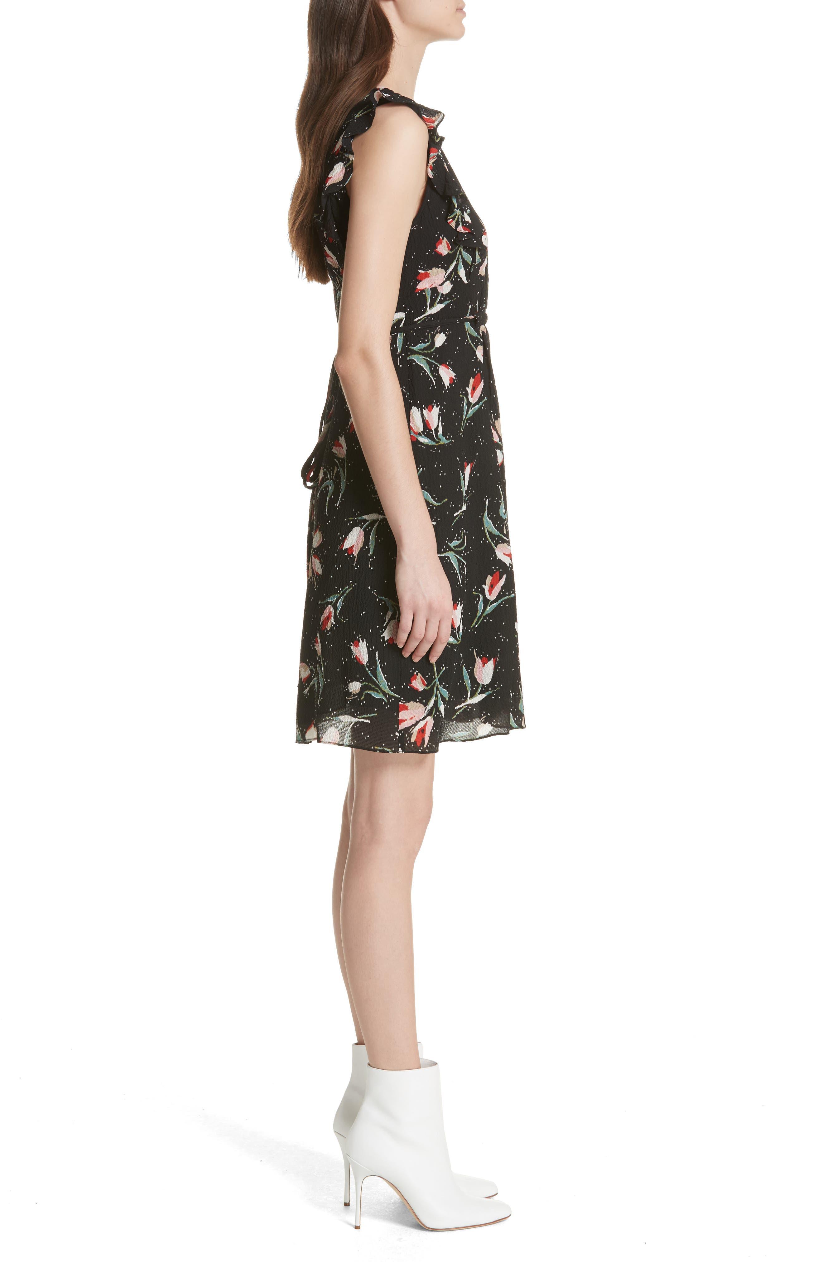 Ruffled Ikat Floral A-Line Dress,                             Alternate thumbnail 3, color,