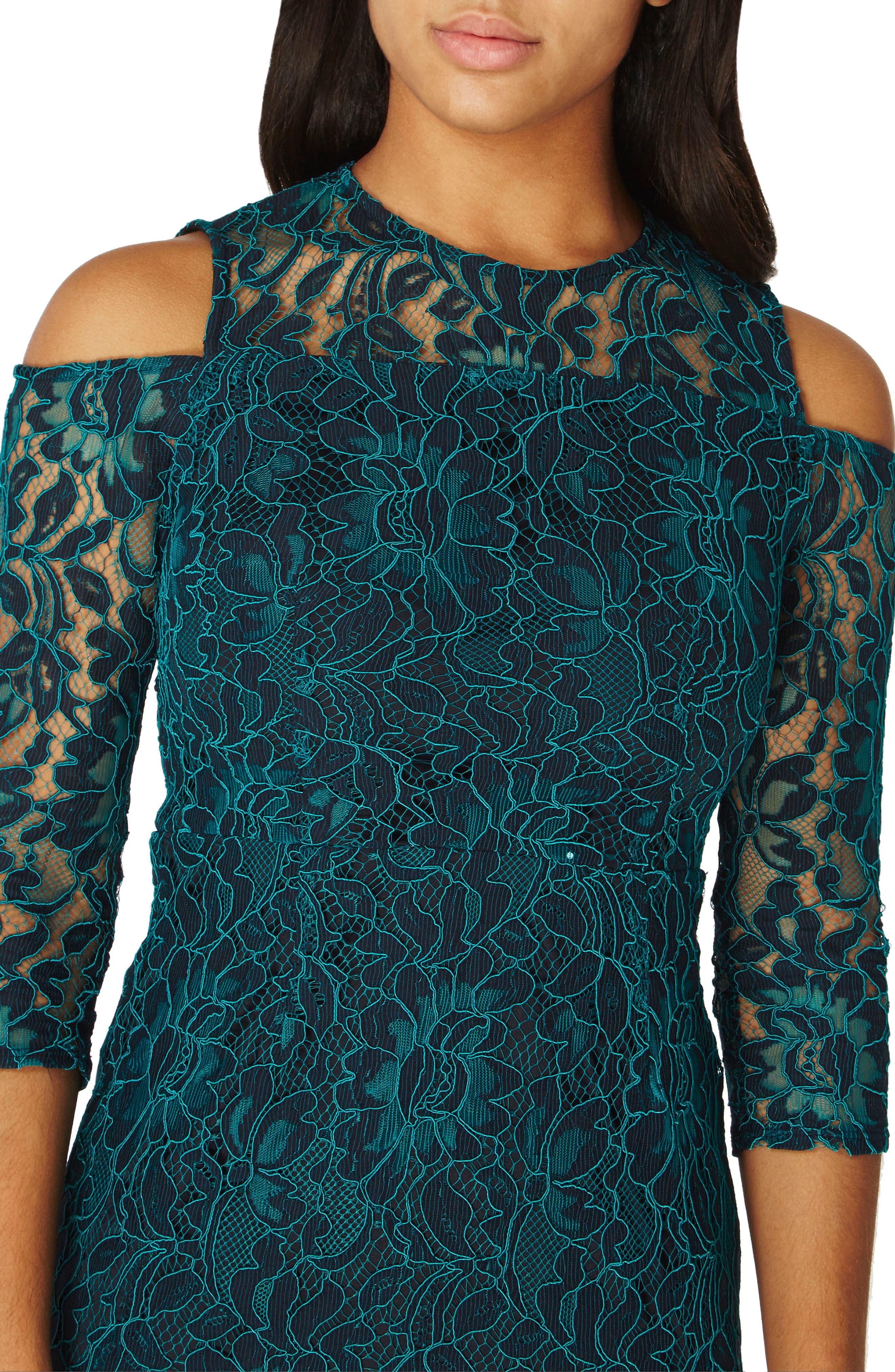 Cold Shoulder Lace Dress,                             Alternate thumbnail 3, color,                             300
