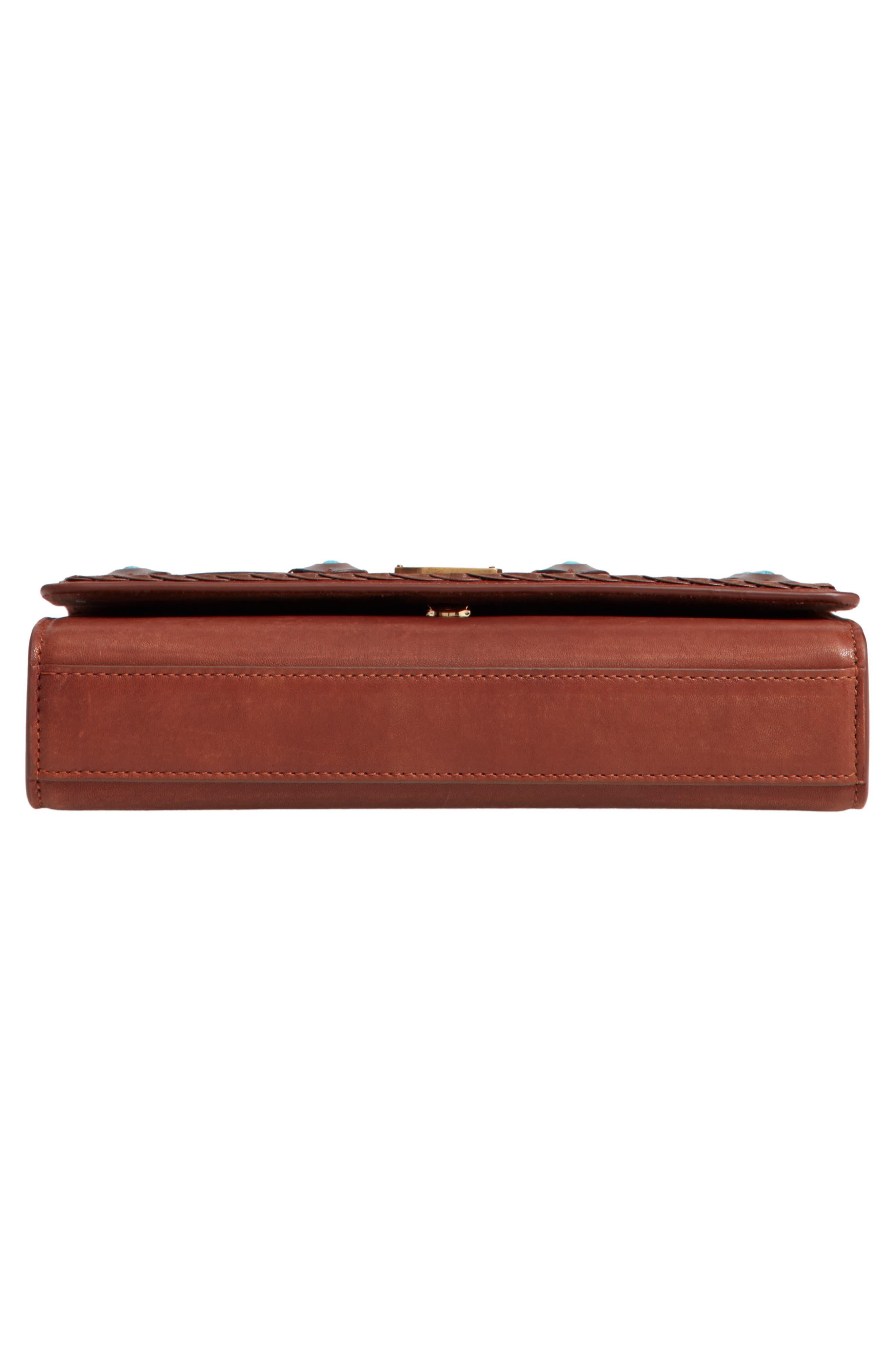 Medium Kate Studded Leather Crossbody Bag,                             Alternate thumbnail 6, color,                             BROWN MULTI