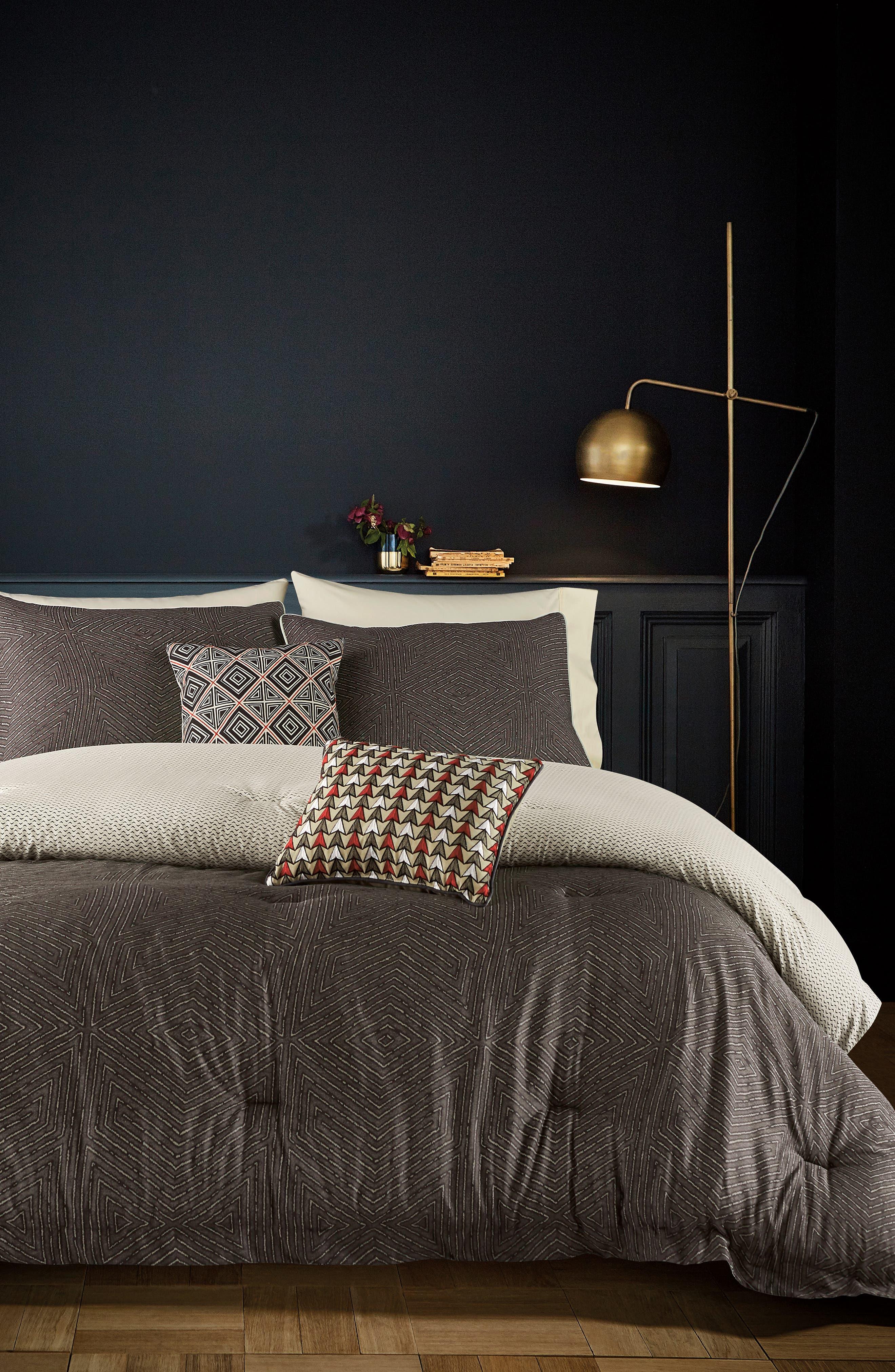 BEDECK,                             Arro Comforter, Sham & Accent Pillow Set,                             Alternate thumbnail 9, color,                             CHARCOAL