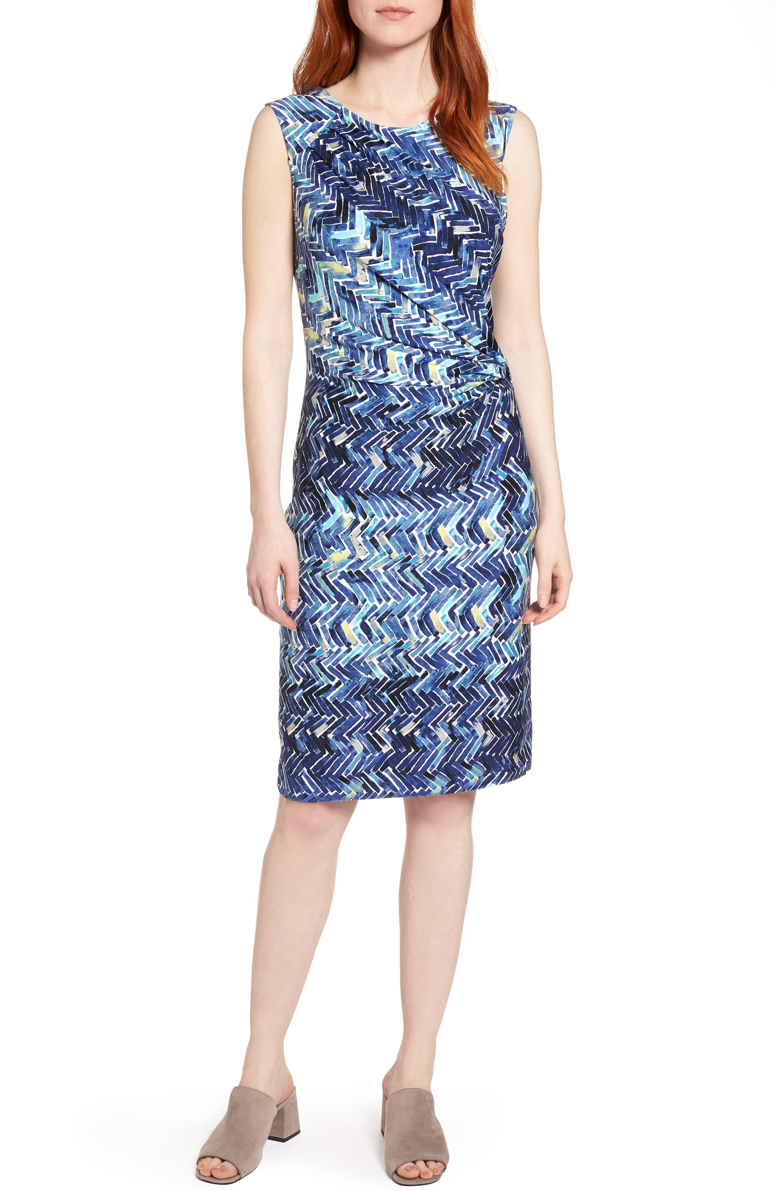 Seaside Tile Ruched Sheath Dress,                             Main thumbnail 1, color,