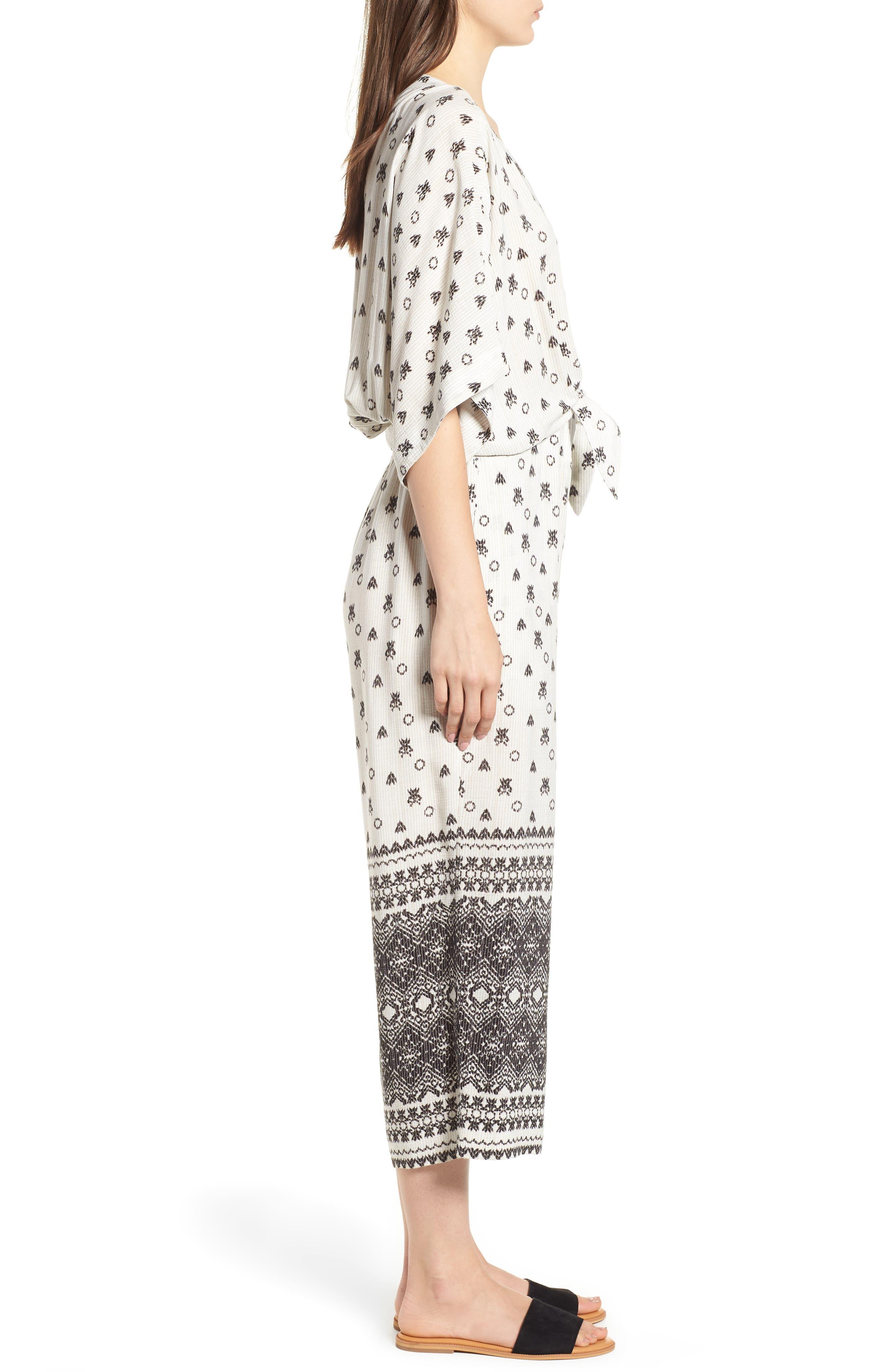 Desert Batik Print Tie Waist Jumpsuit,                             Alternate thumbnail 3, color,                             108