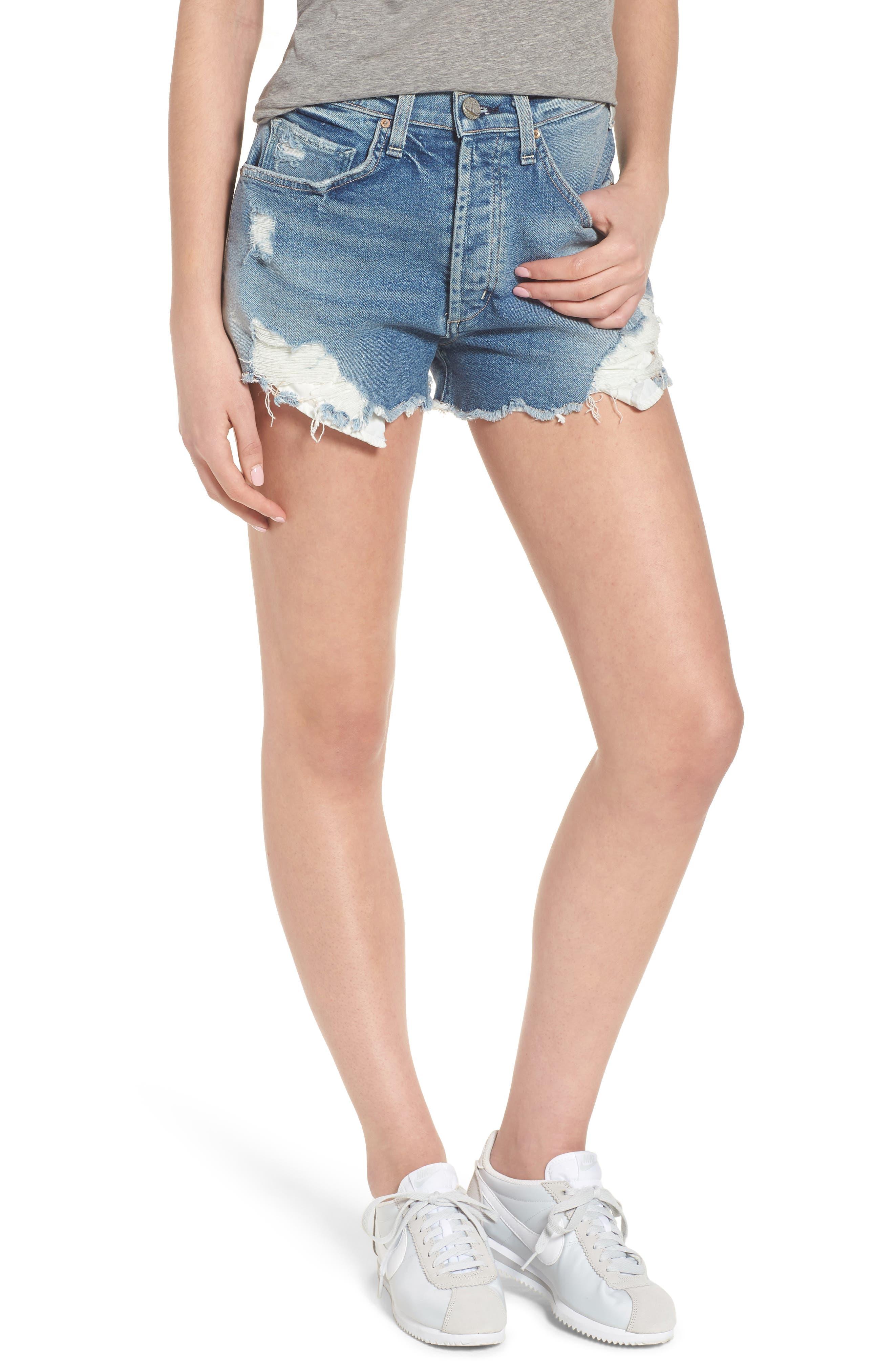 Georgia May Distressed Denim Shorts,                         Main,                         color, 450