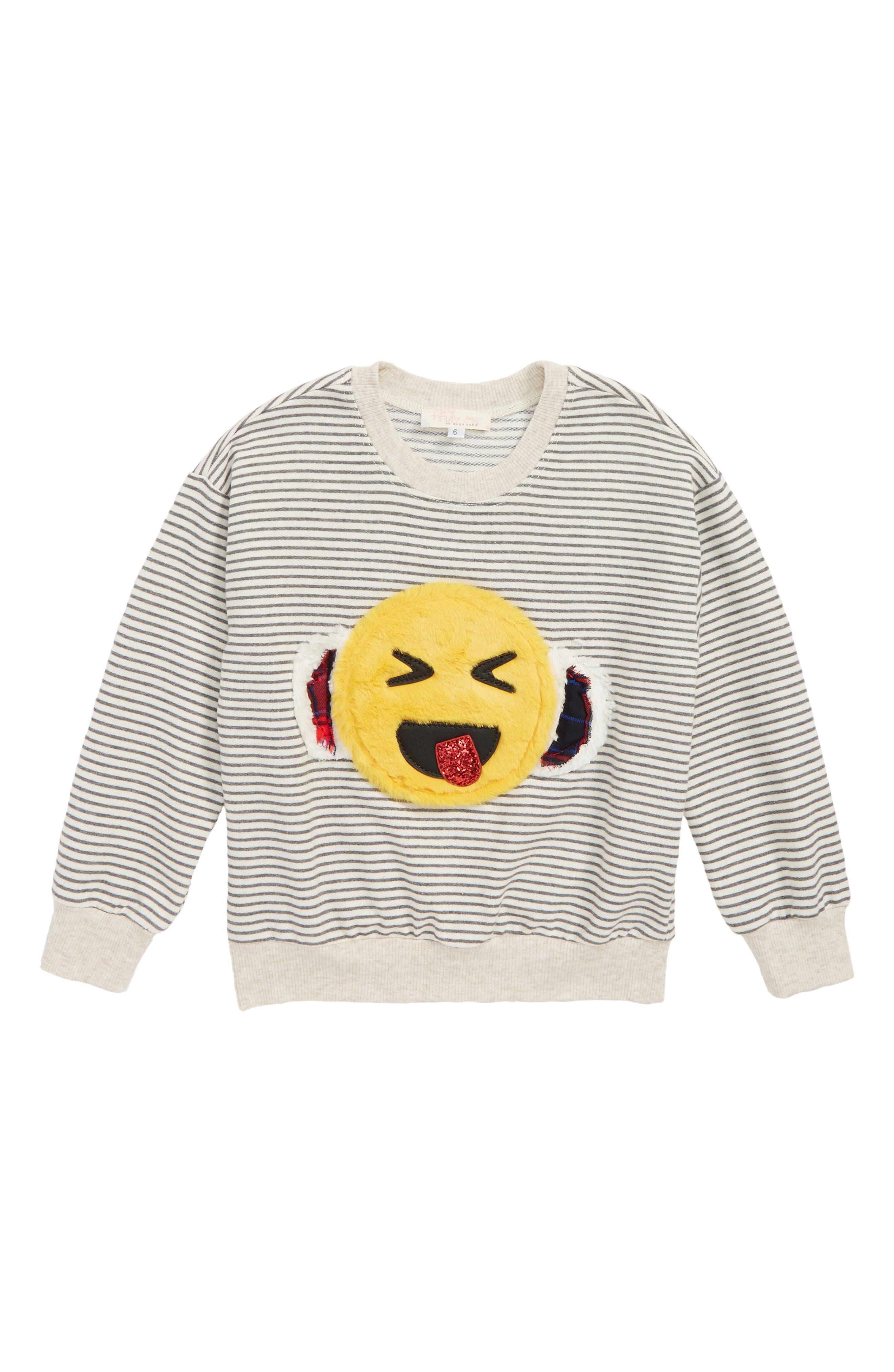 TRULY ME Faux Fur Emoji Stripe Sweatshirt, Main, color, 065