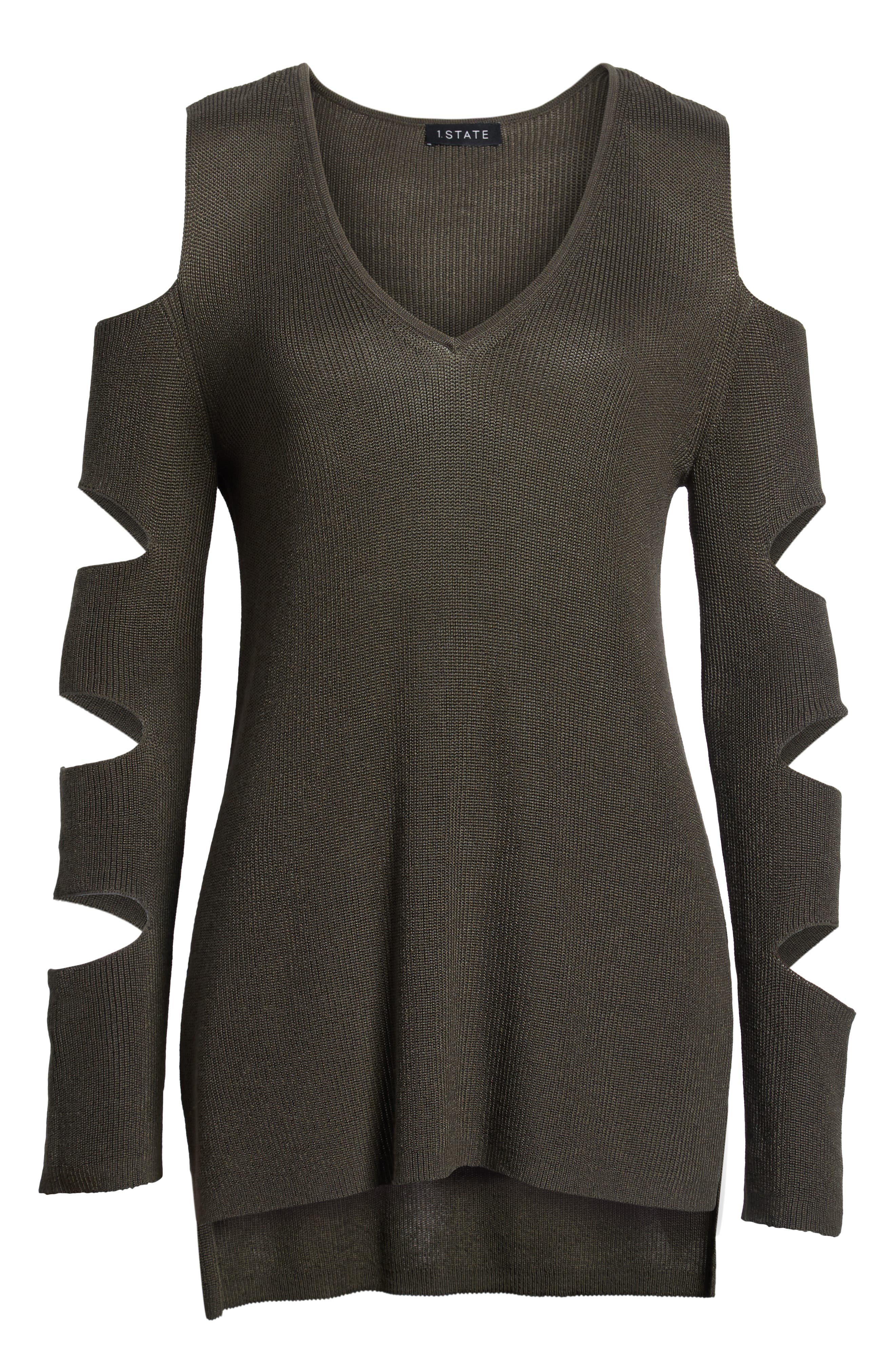 Cutout Sweater,                             Alternate thumbnail 7, color,                             OLIVE EARTH