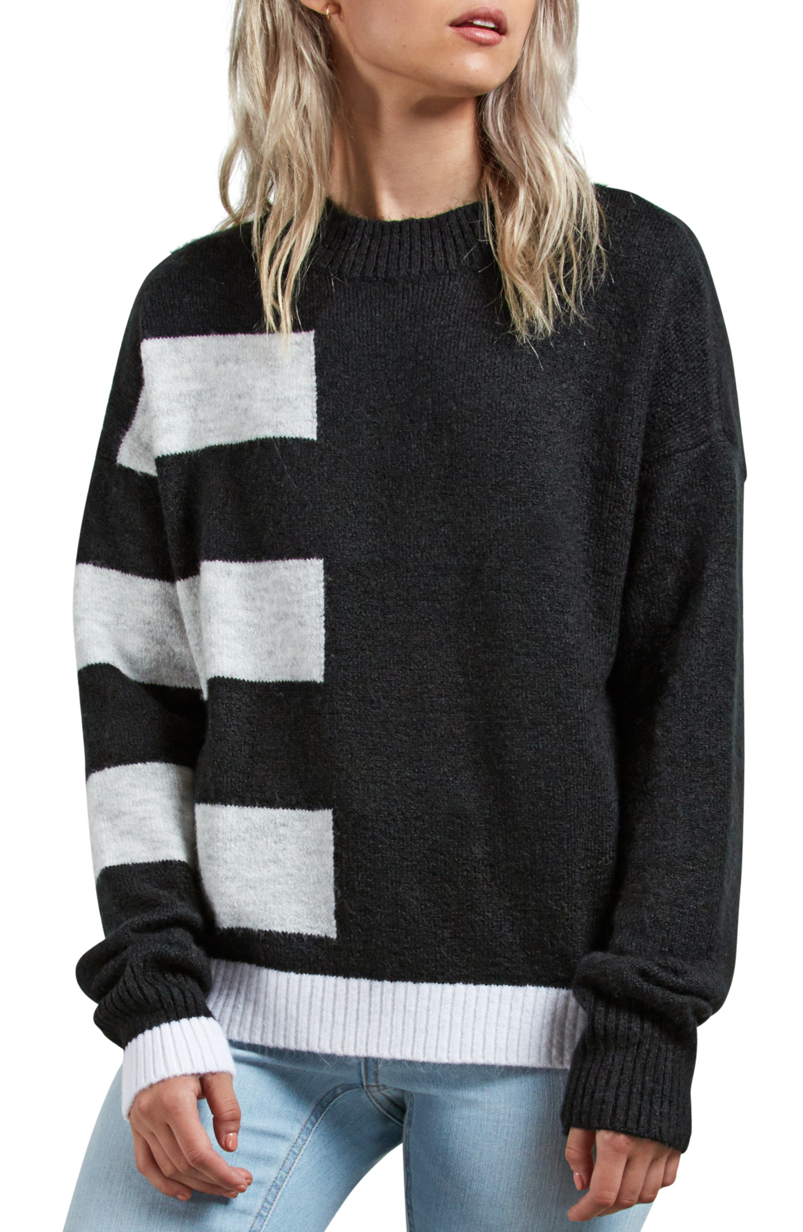 VOLCOM,                             Cold Stripe Sweater,                             Main thumbnail 1, color,                             001