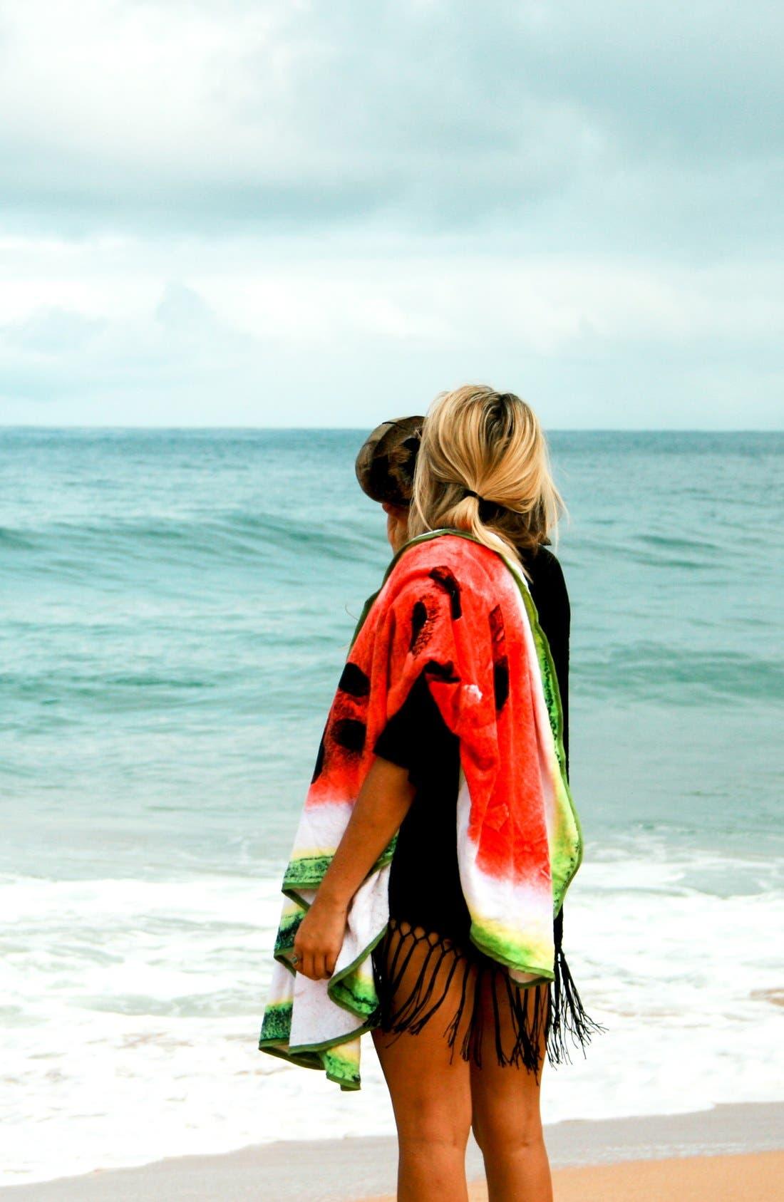 Watermelon Round Beach Towel,                             Alternate thumbnail 3, color,                             600