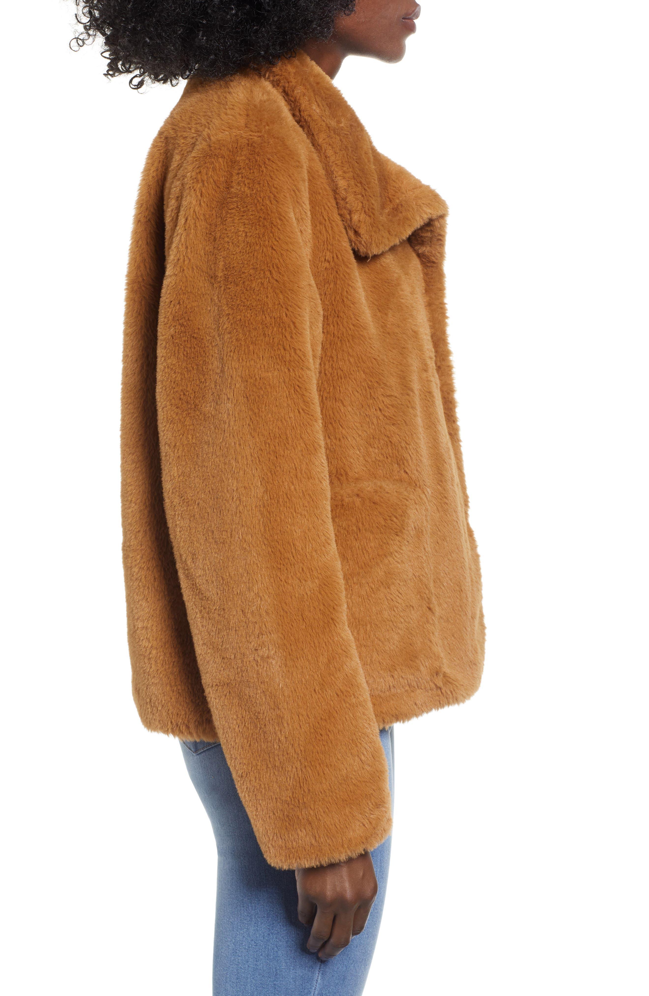 Fur-Fect Faux Fur Jacket,                             Alternate thumbnail 3, color,                             TAN DALE