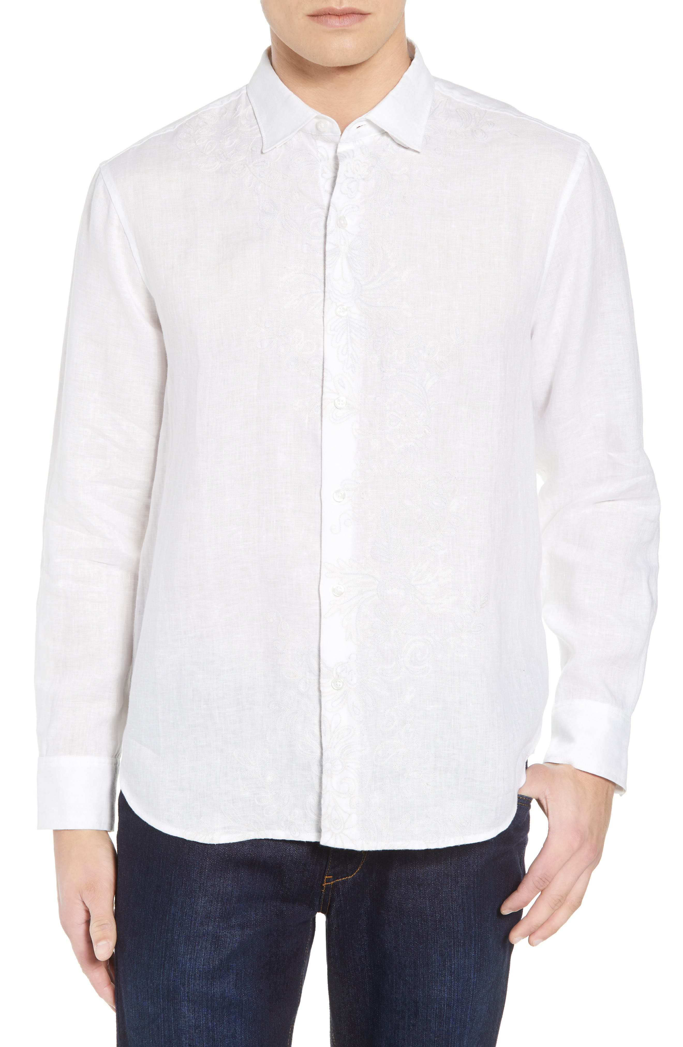 Get Your Groom On Linen Sport Shirt,                         Main,                         color, WHITE
