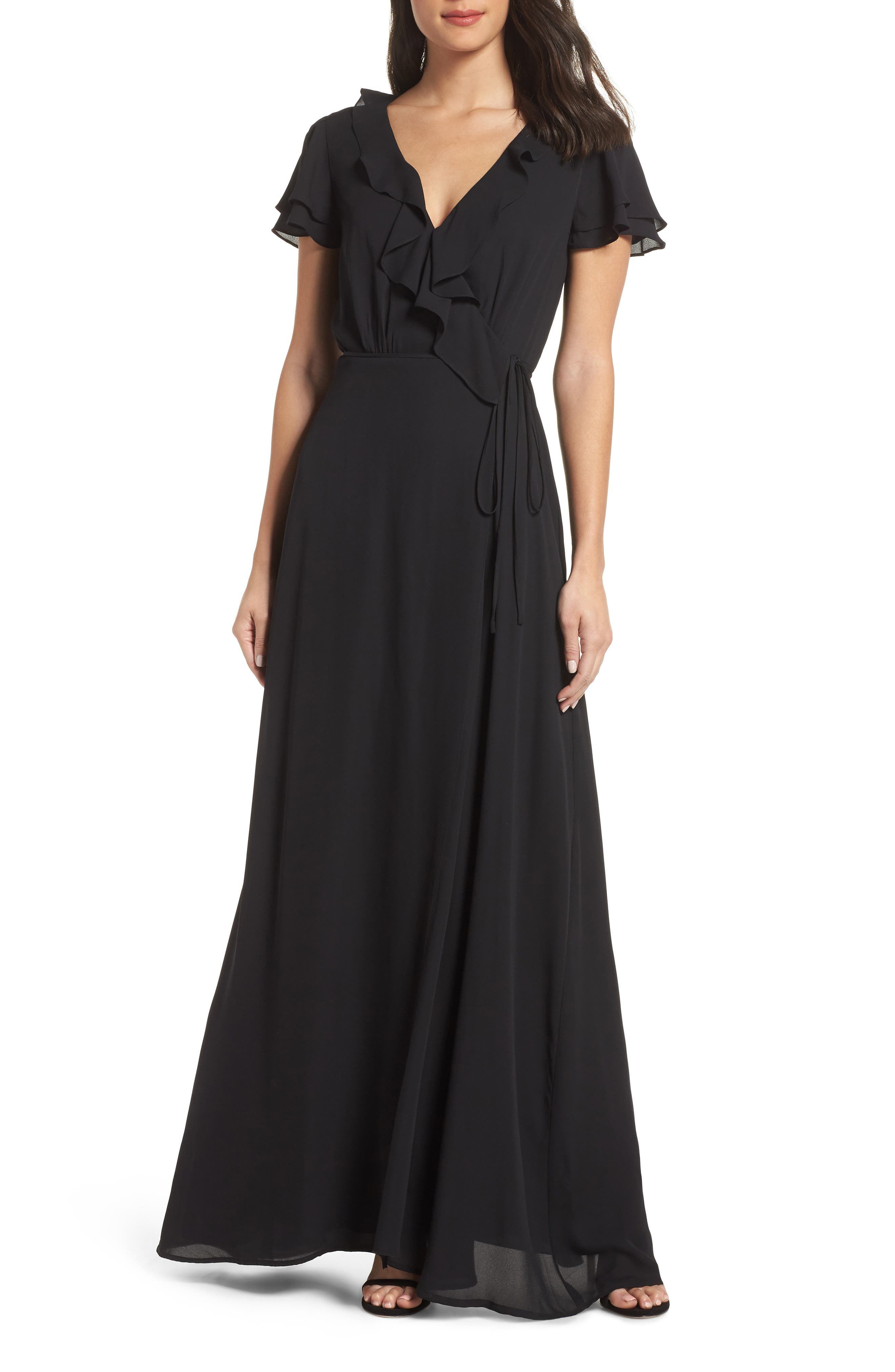 WAYF The Evaline Flutter Ruffle Wrap Gown in Black