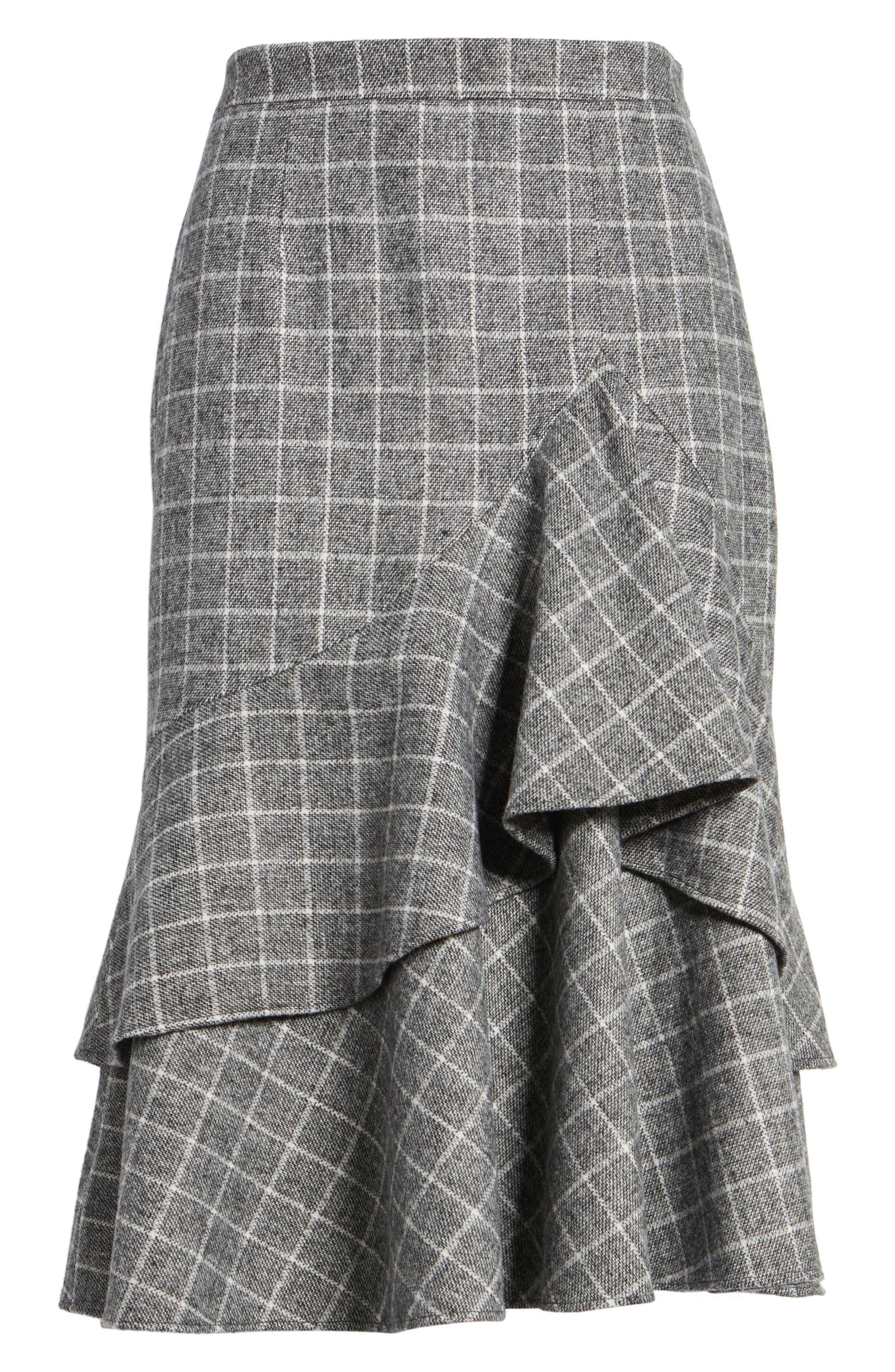 Windowpane Print Ruffle Skirt,                             Alternate thumbnail 6, color,                             001
