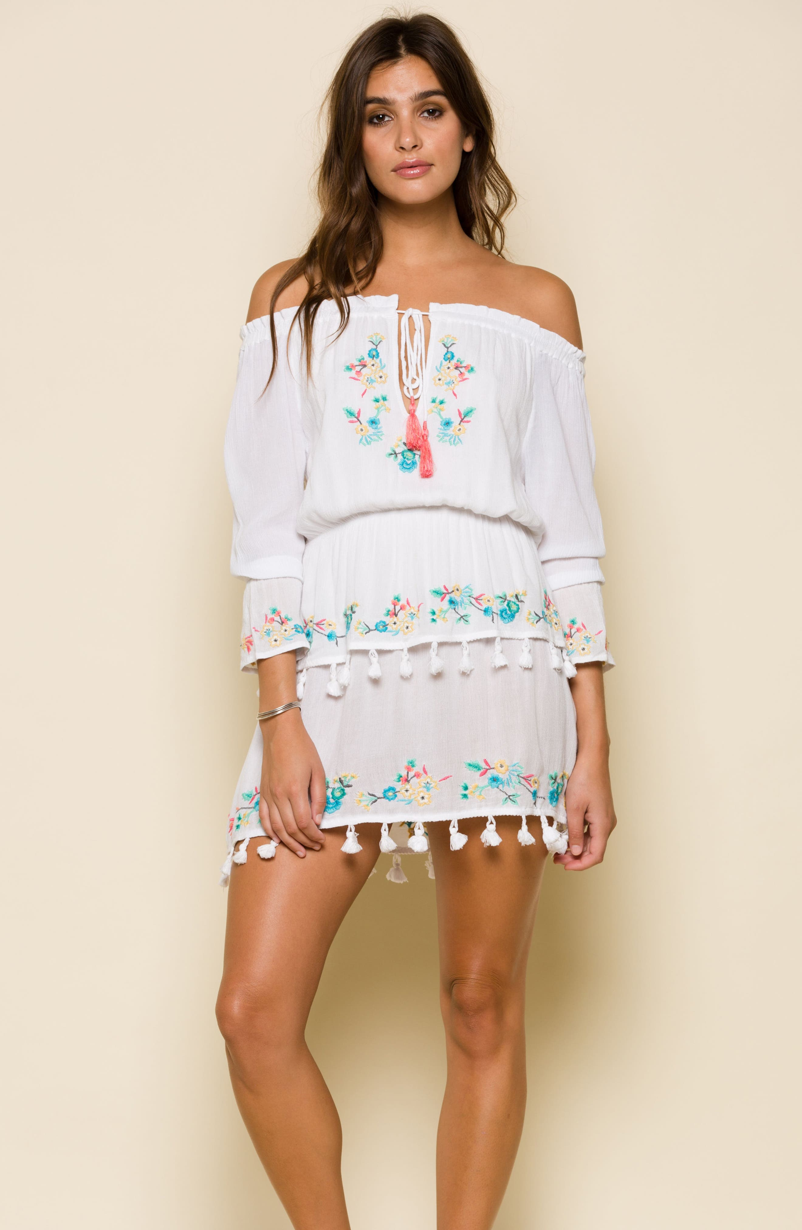 Ashlyn Embroidered Off the Shoulder Minidress,                             Alternate thumbnail 7, color,