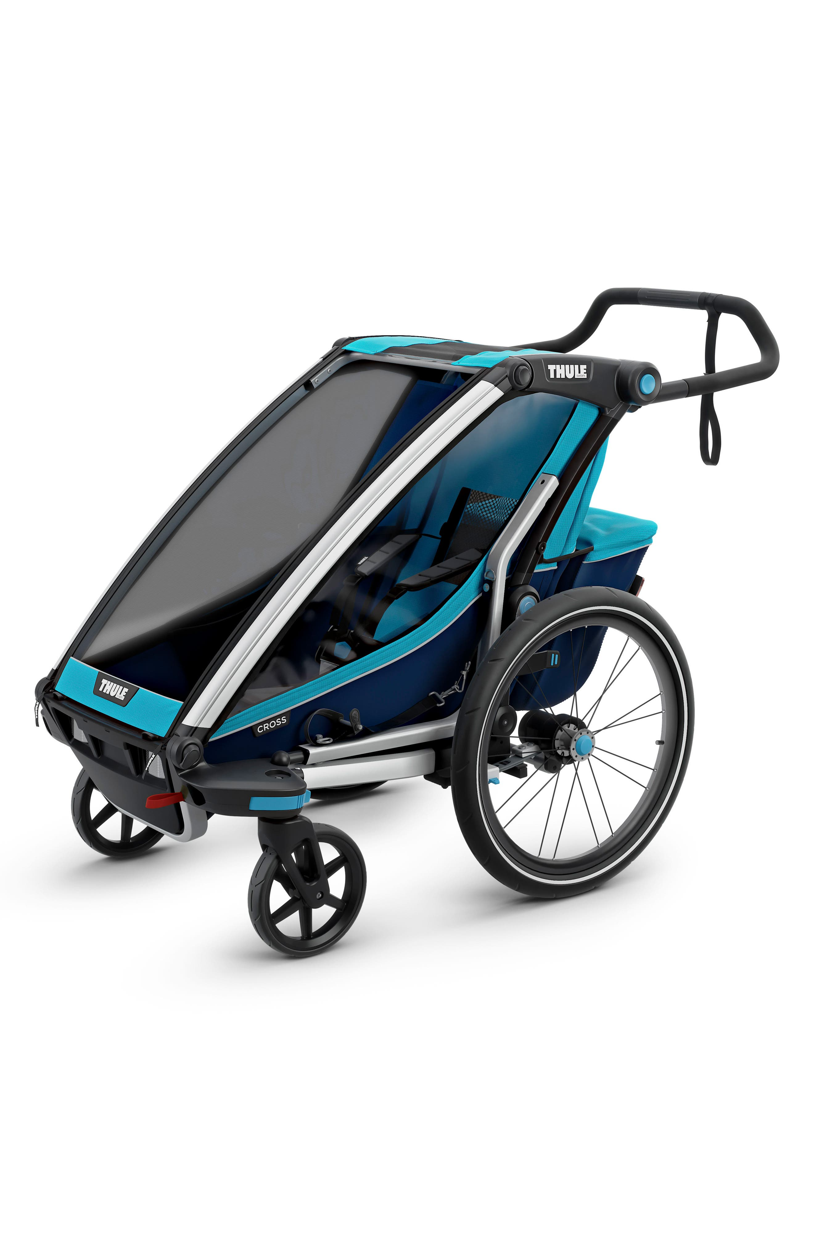 Chariot Cross 1 Multisport Cycle Trailer/Stroller,                             Alternate thumbnail 4, color,                             THULE BLUE