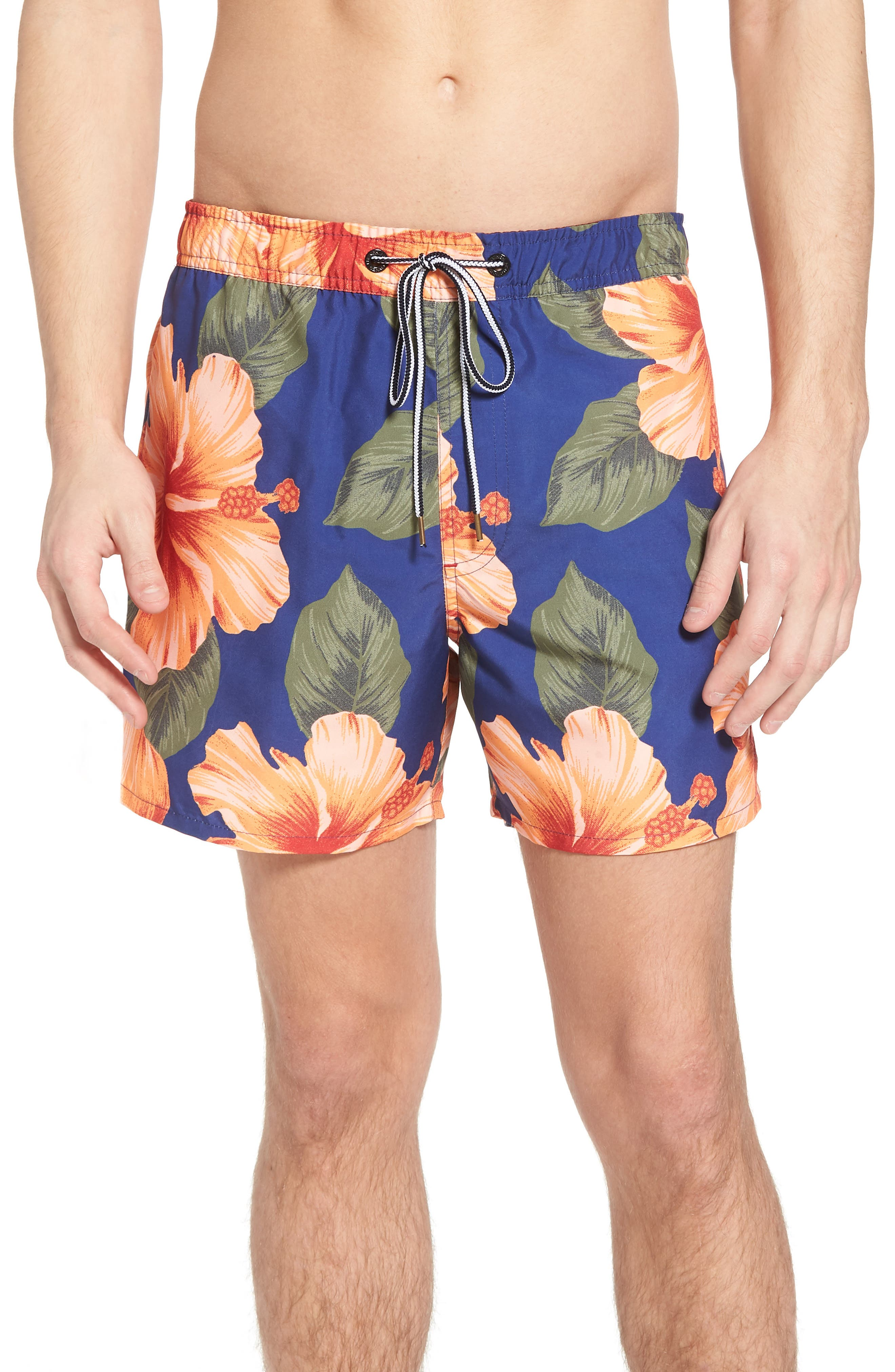 Wela Hawaiian Slim Fit Swim Trunks,                             Main thumbnail 1, color,                             DEEP COBALT