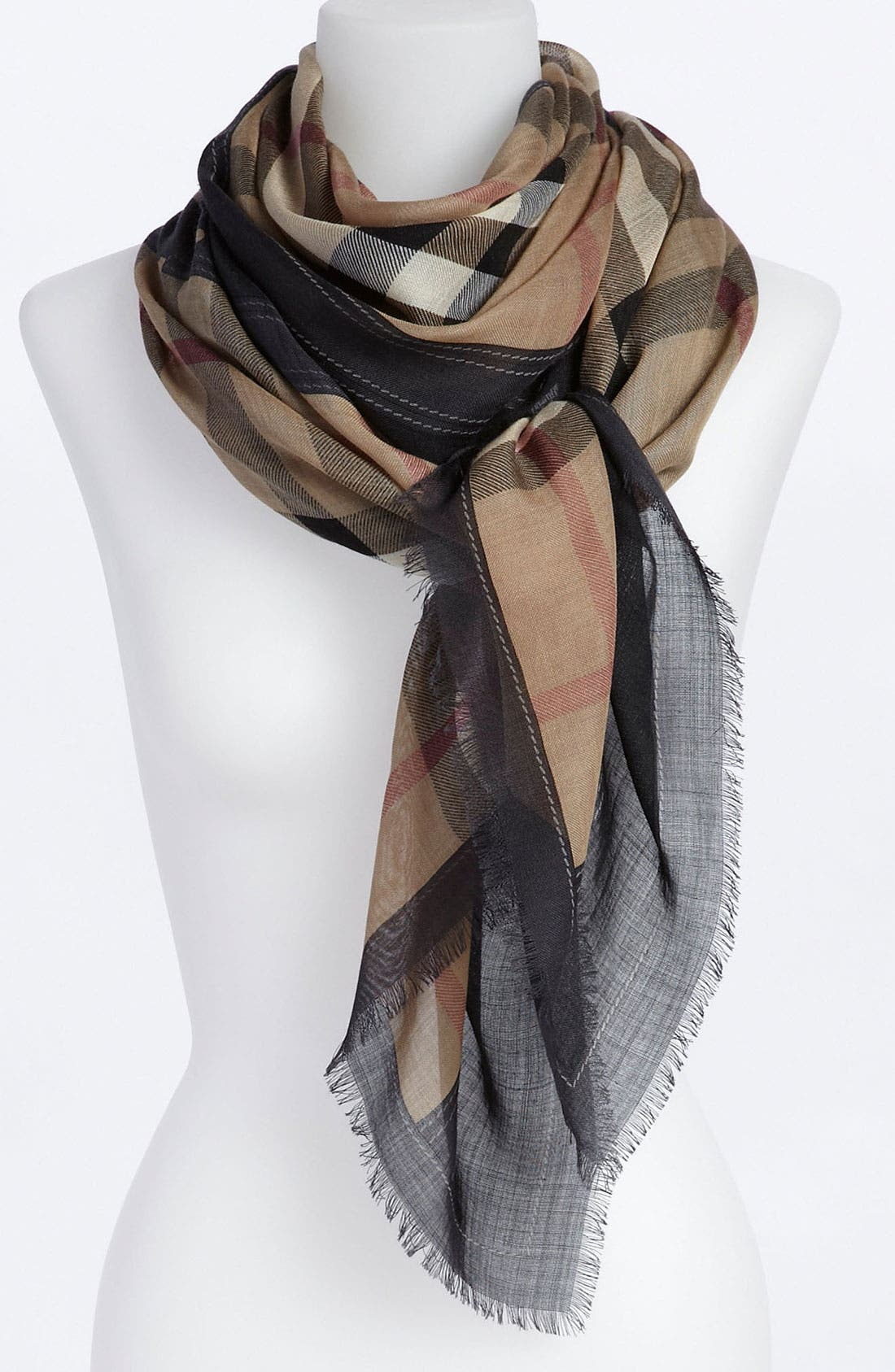 BURBERRY,                             Oblong Scarf,                             Main thumbnail 1, color,                             001