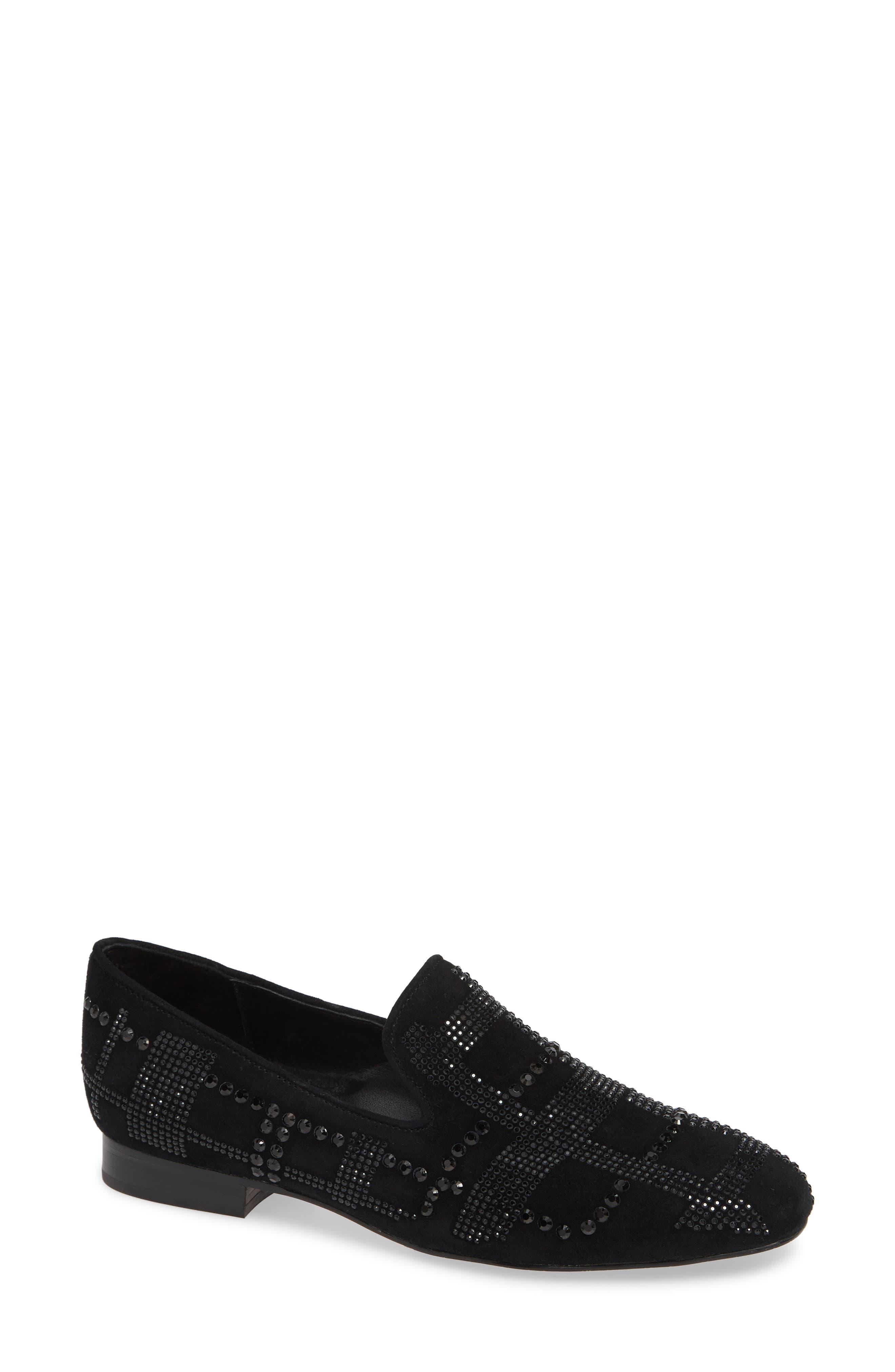 Libbi Rhinestone Suede Flat Loafers in Black