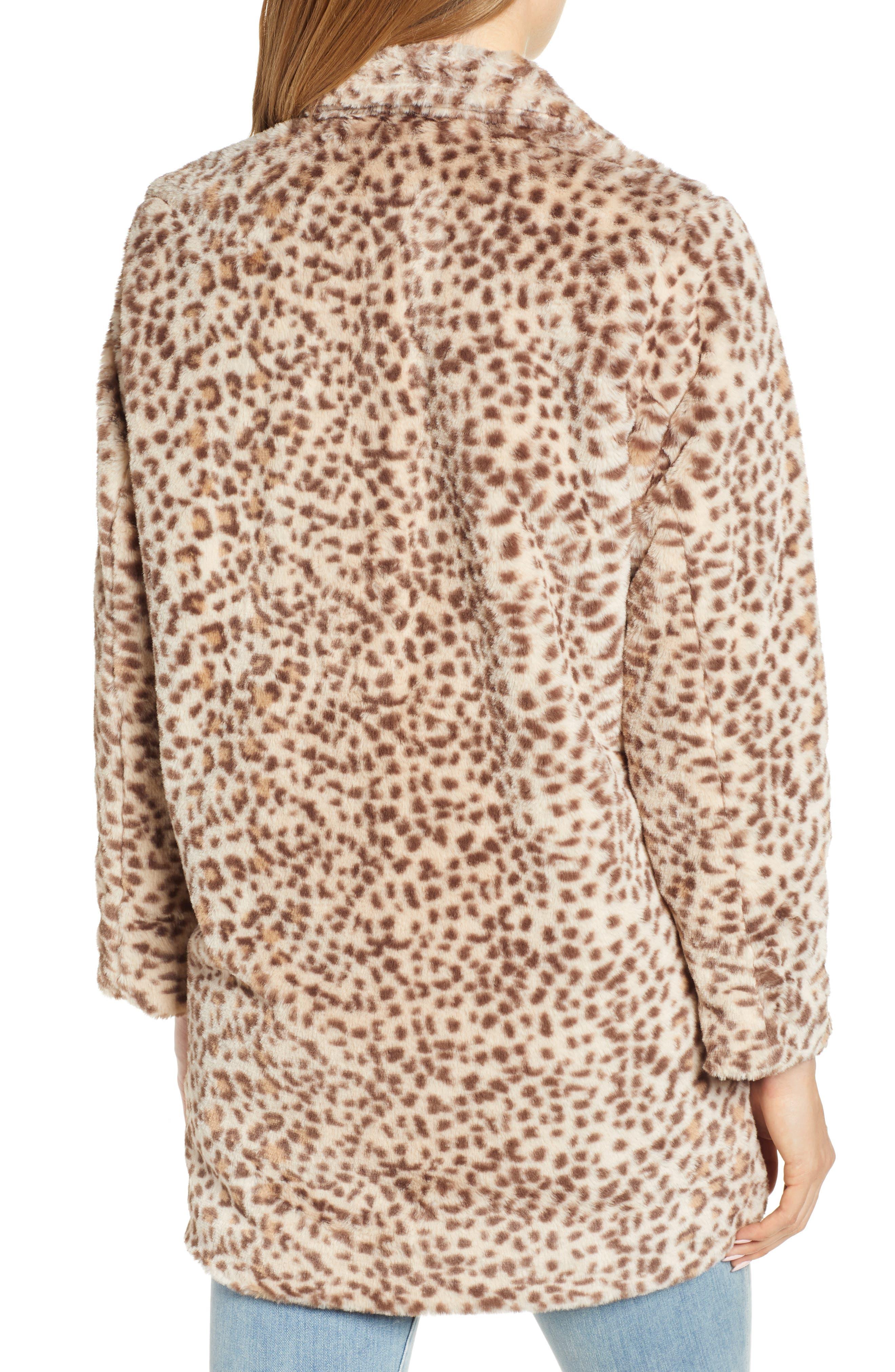 Faux Leopard Fur Coat,                             Alternate thumbnail 2, color,                             TAN