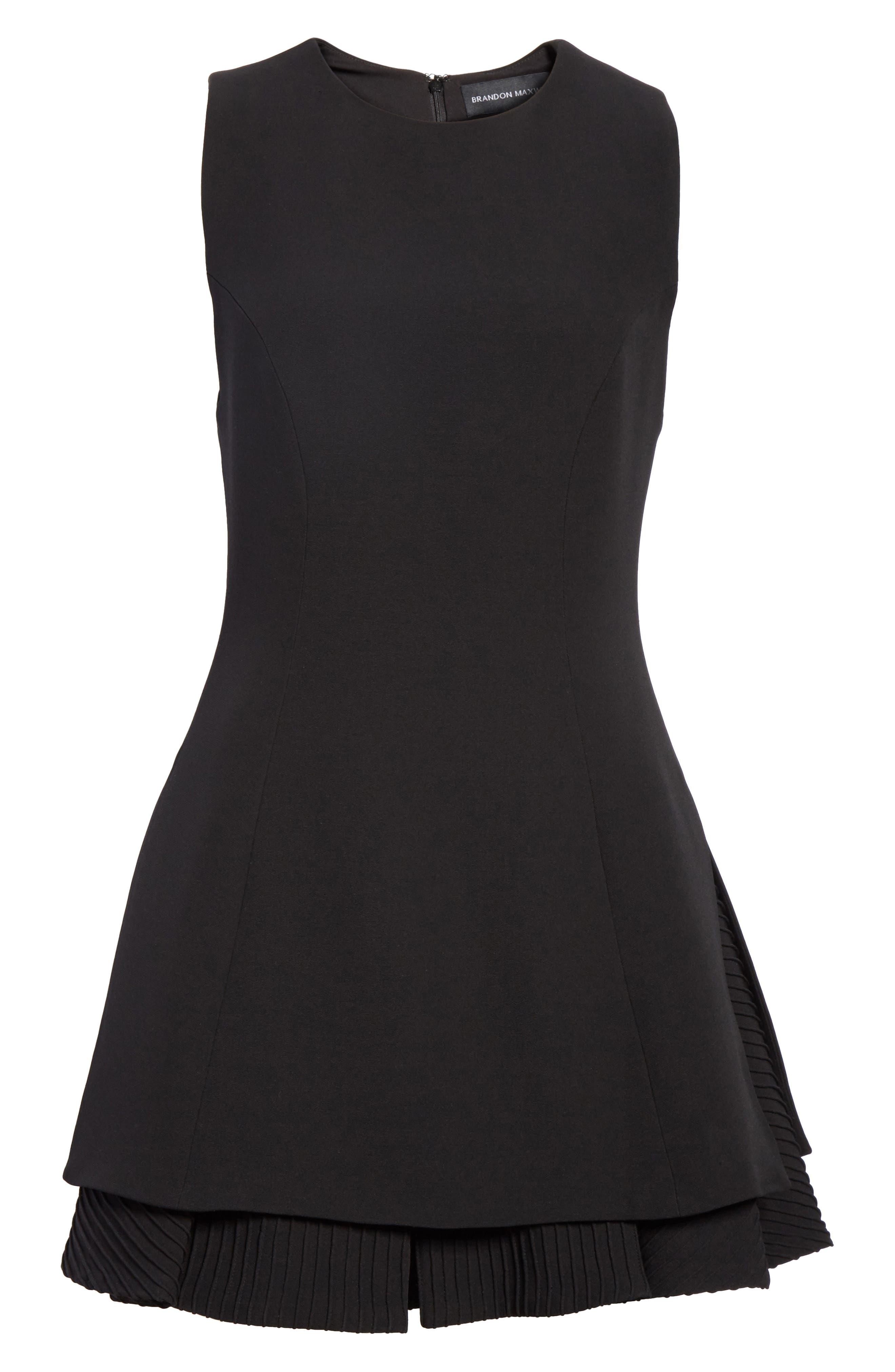 Pleated Hem Fit & Flare Dress,                             Alternate thumbnail 6, color,                             001