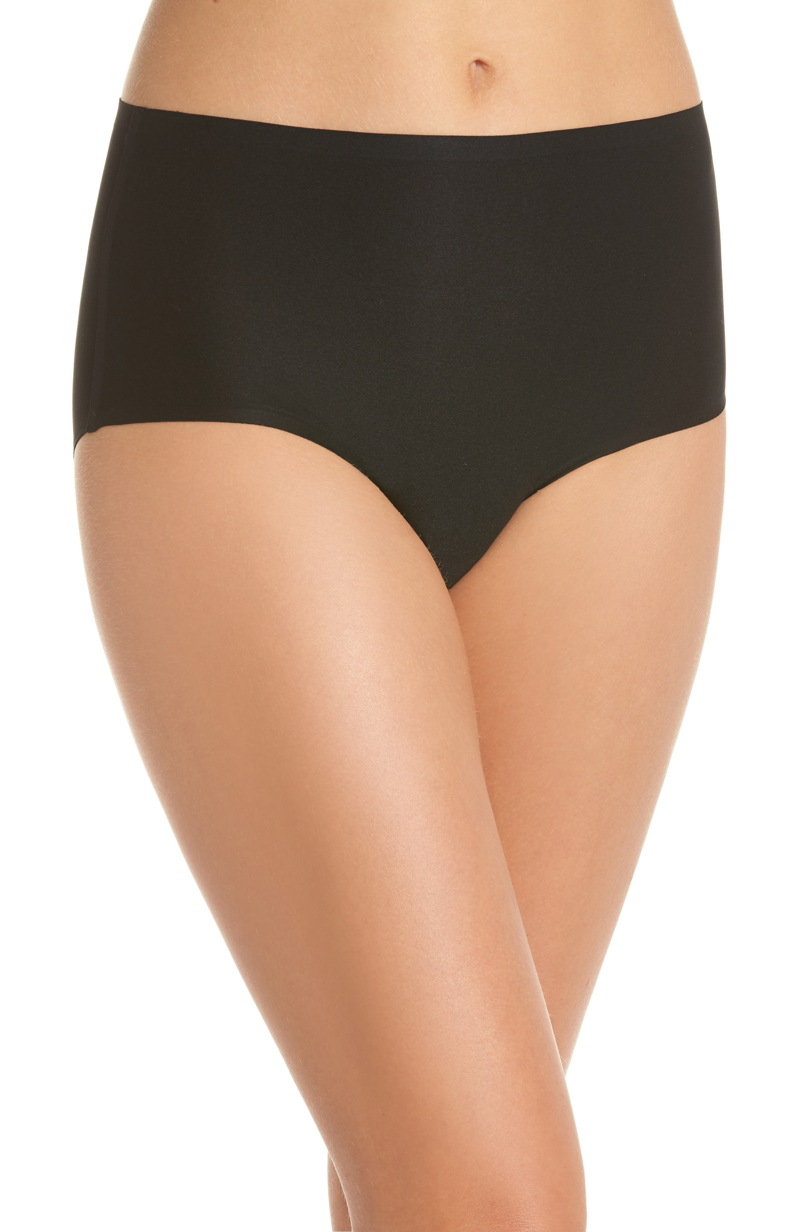 Soft Stretch High Waist Seamless Briefs,                             Alternate thumbnail 2, color,                             BLACK