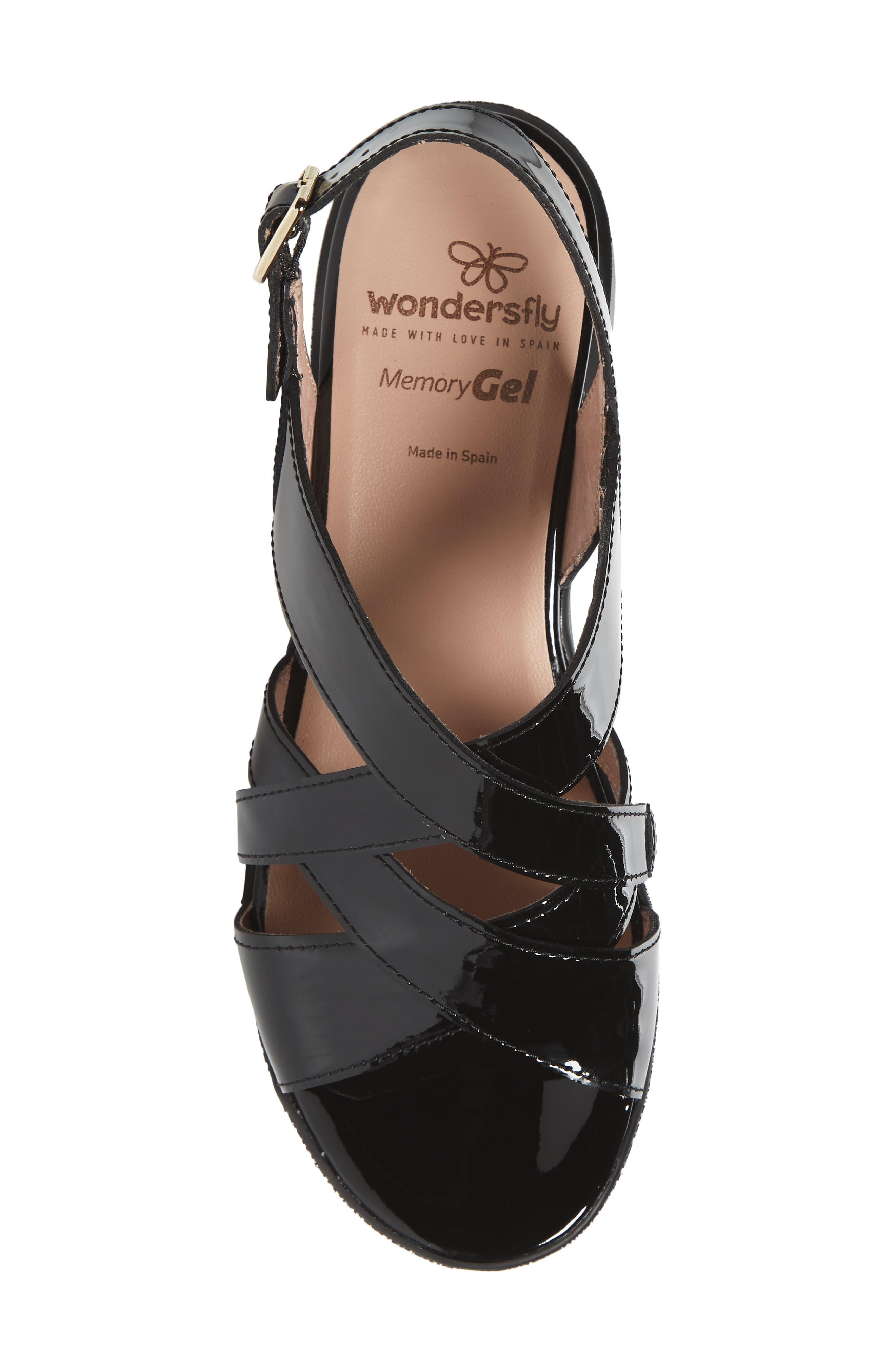 Platform Wedge Sandal,                             Alternate thumbnail 5, color,                             BLACK LEATHER