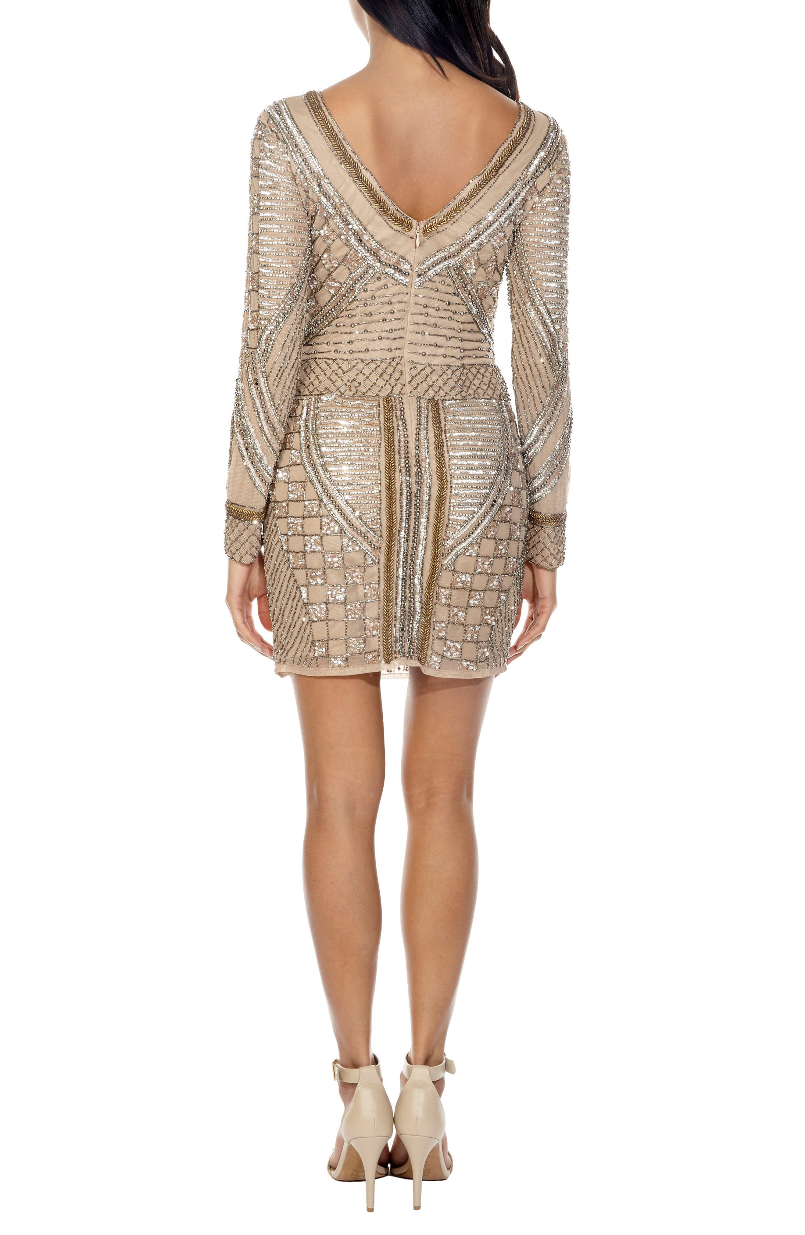 Hyacinth Sparkle Minidress,                             Alternate thumbnail 2, color,                             TAUPE