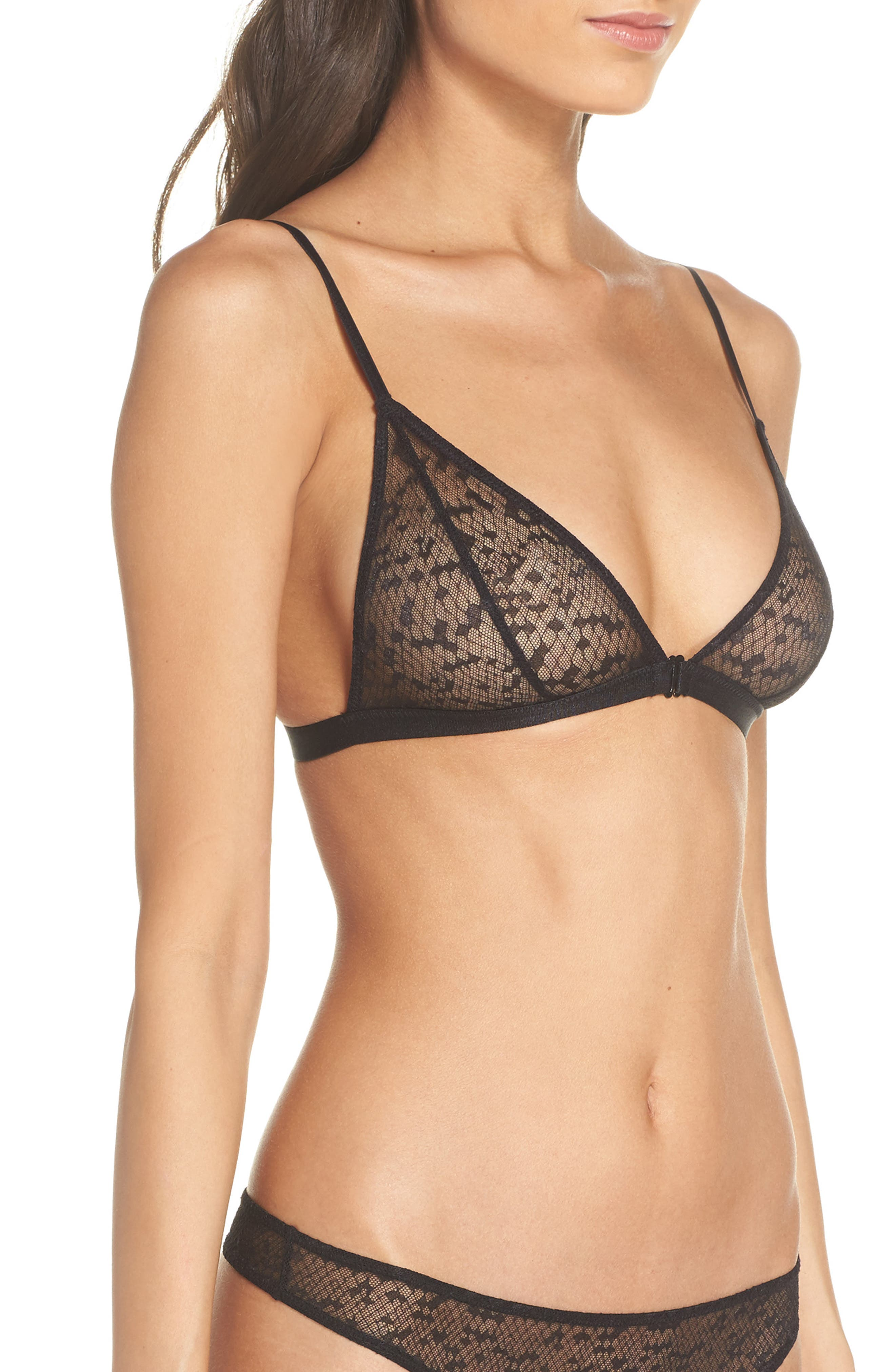 Snake Lace Triangle Bralette,                             Alternate thumbnail 3, color,                             001
