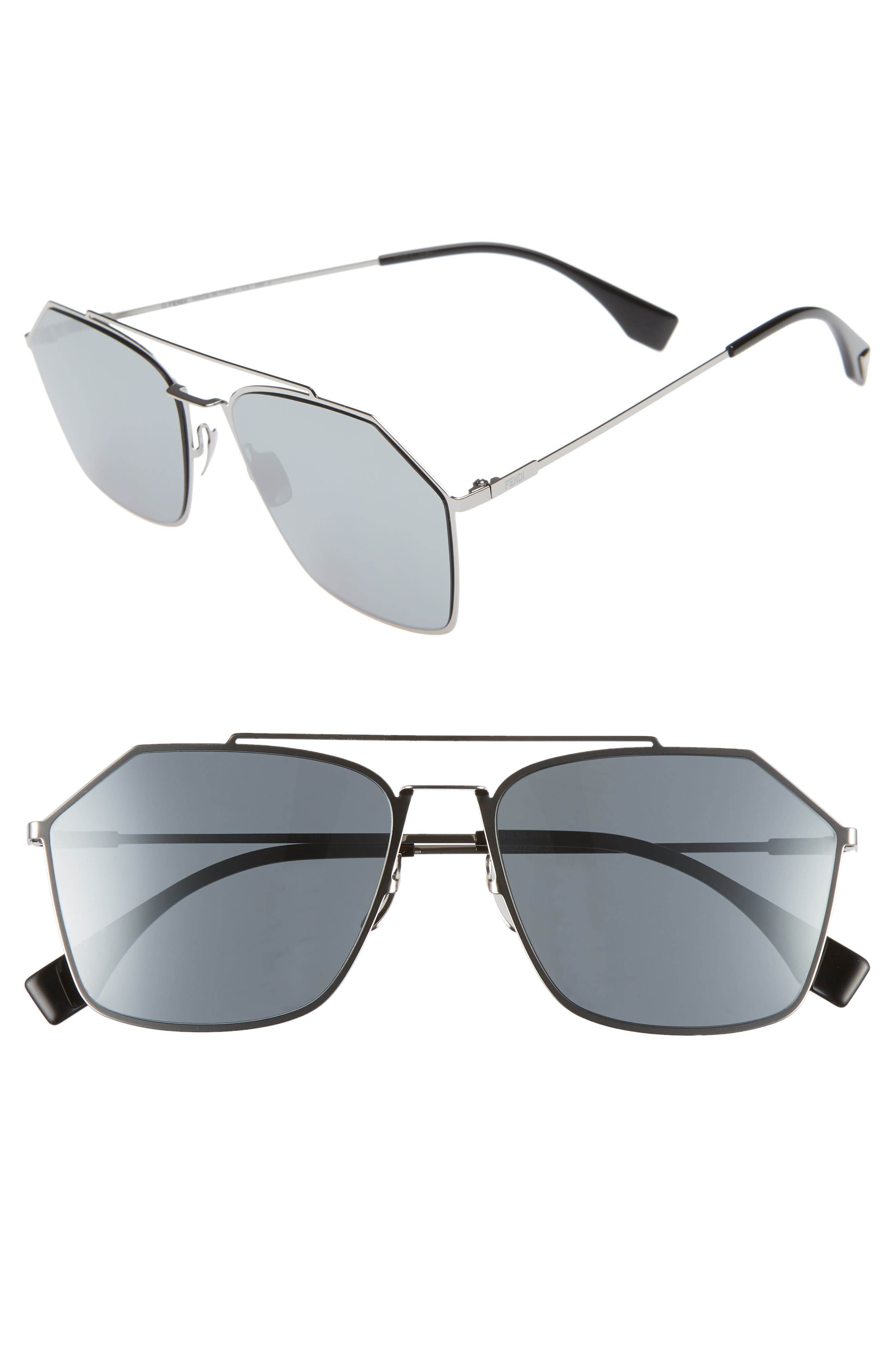 59mm Navigator Sunglasses,                             Main thumbnail 1, color,                             RUTHENIUM