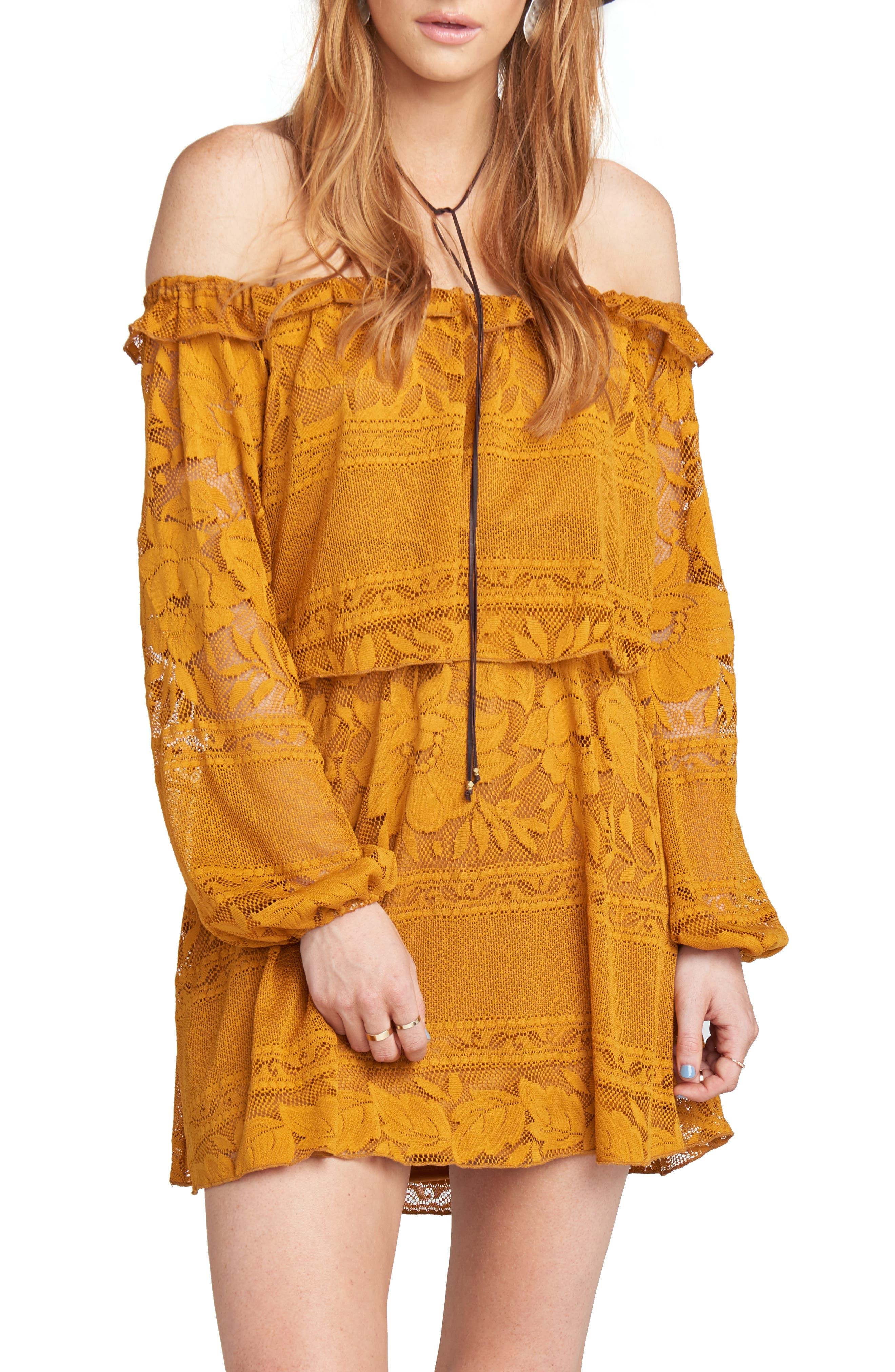 Show Me Your Mumu Moonlight & Roses Off-The-Shoulder Minidress, Yellow