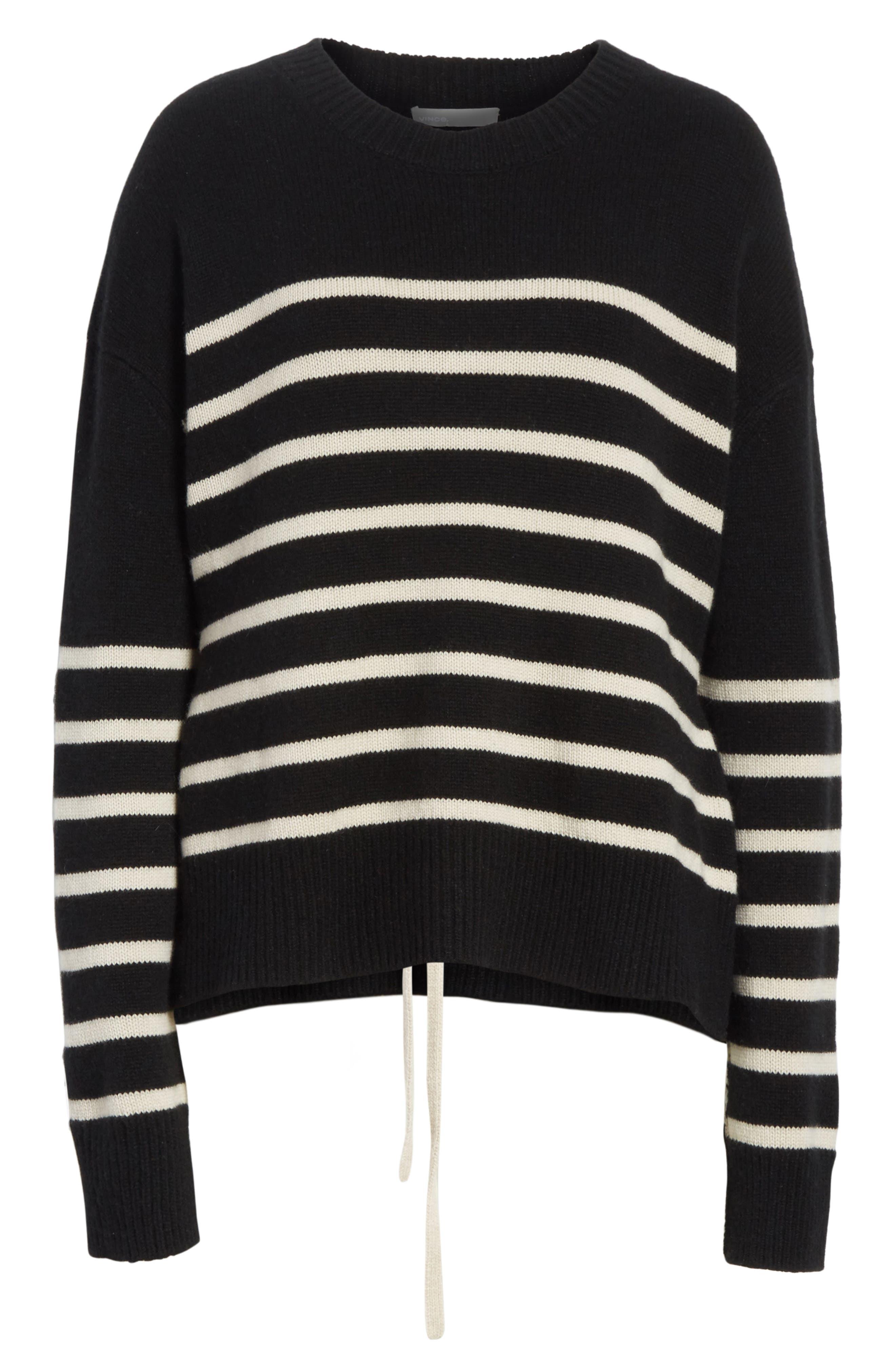 Cashmere Stripe Boxy Crew Sweater,                             Alternate thumbnail 6, color,                             006