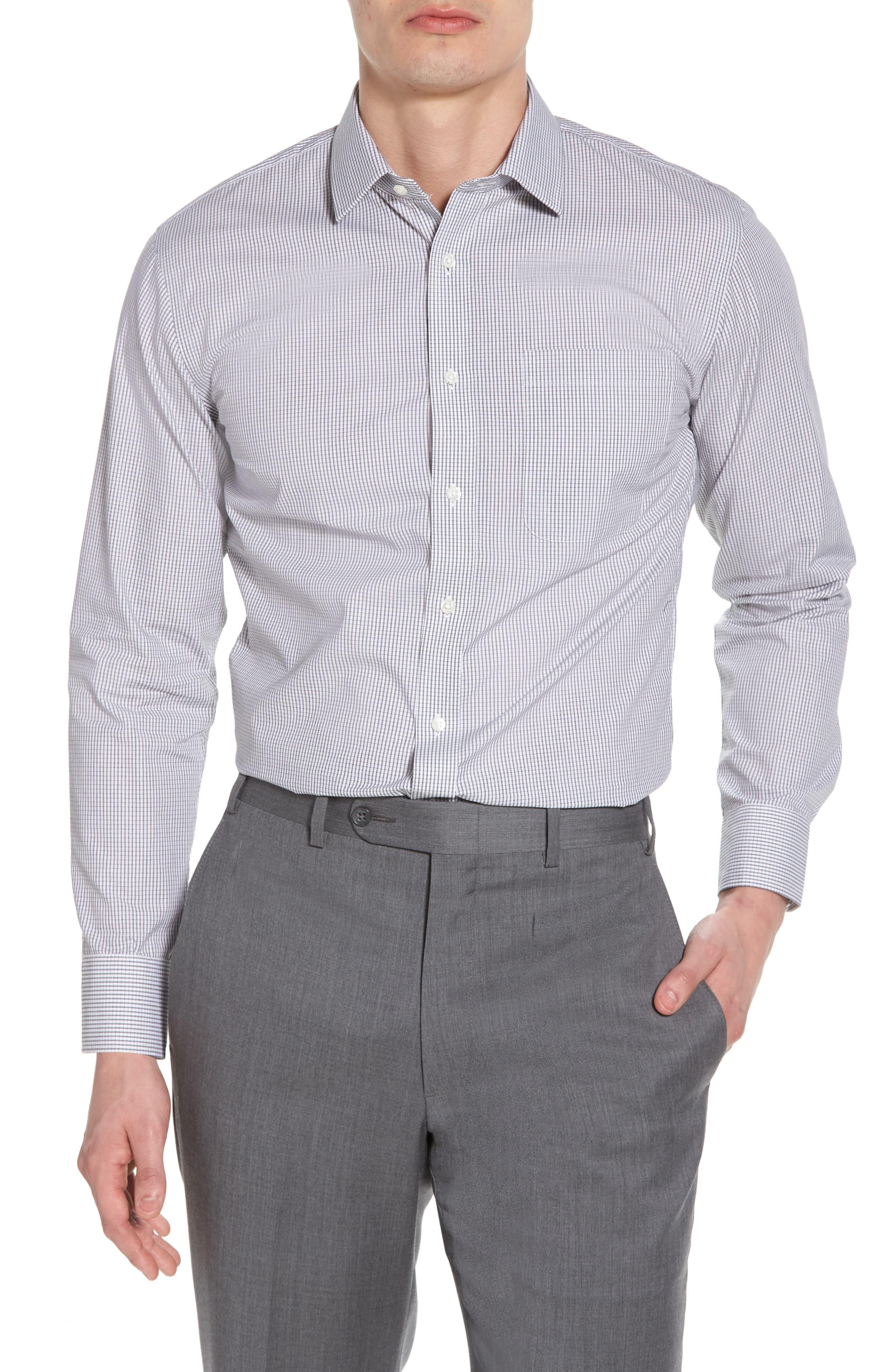 Trim Fit Non-Iron Check Dress Shirt,                             Main thumbnail 1, color,                             001