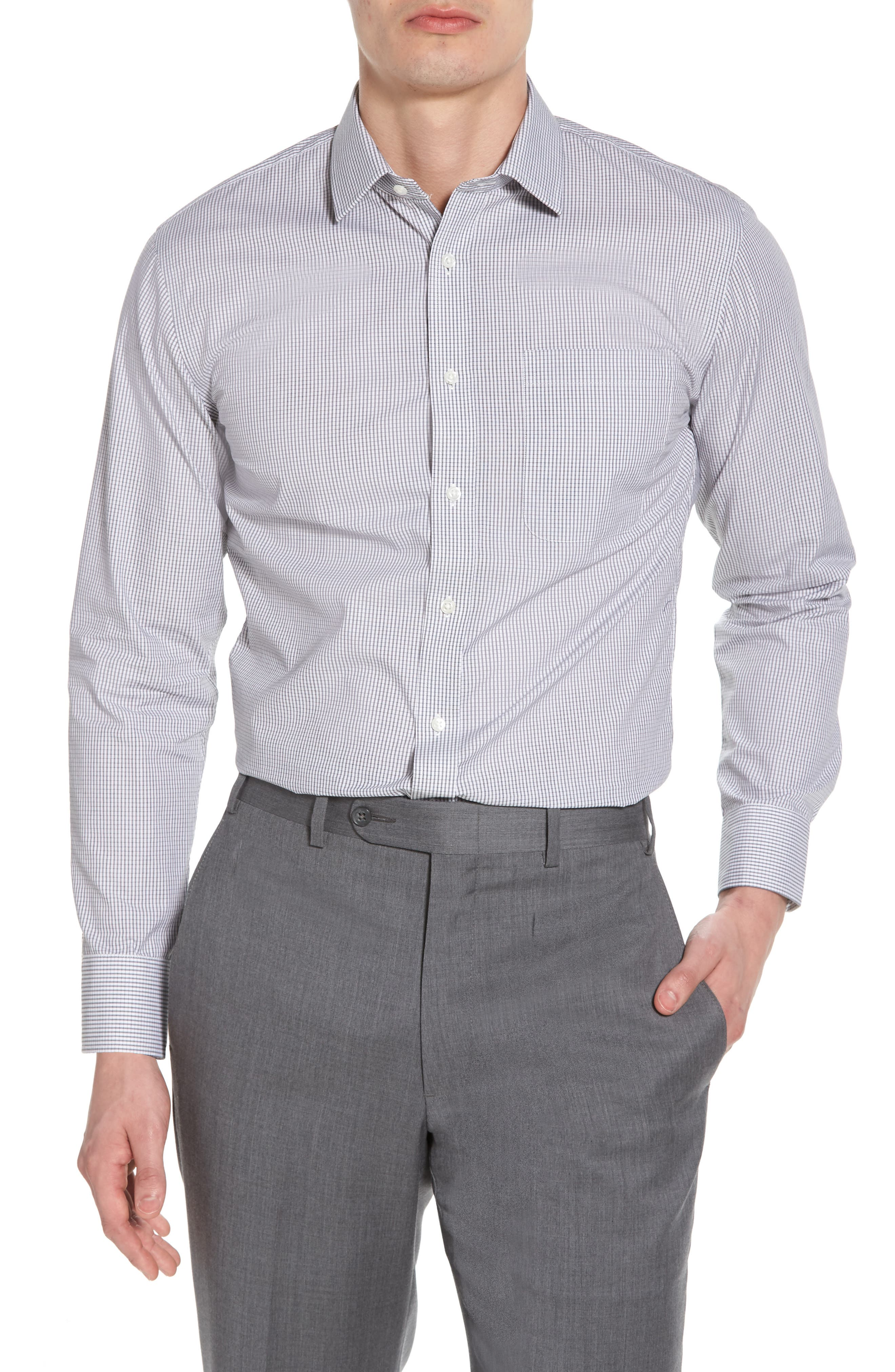 Trim Fit Non-Iron Check Dress Shirt,                         Main,                         color, 001