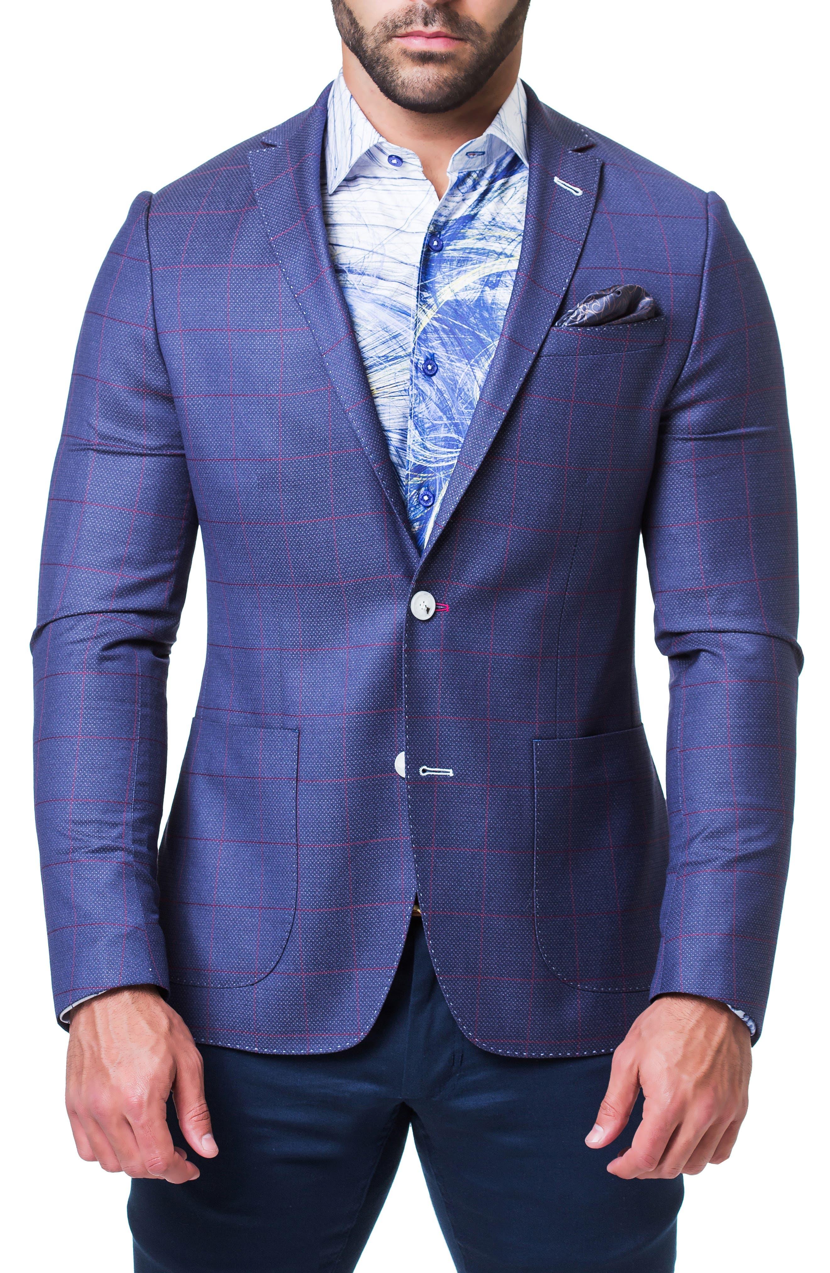 MACEOO Algebra Jail Windowpane Check Sport Coat in Blue