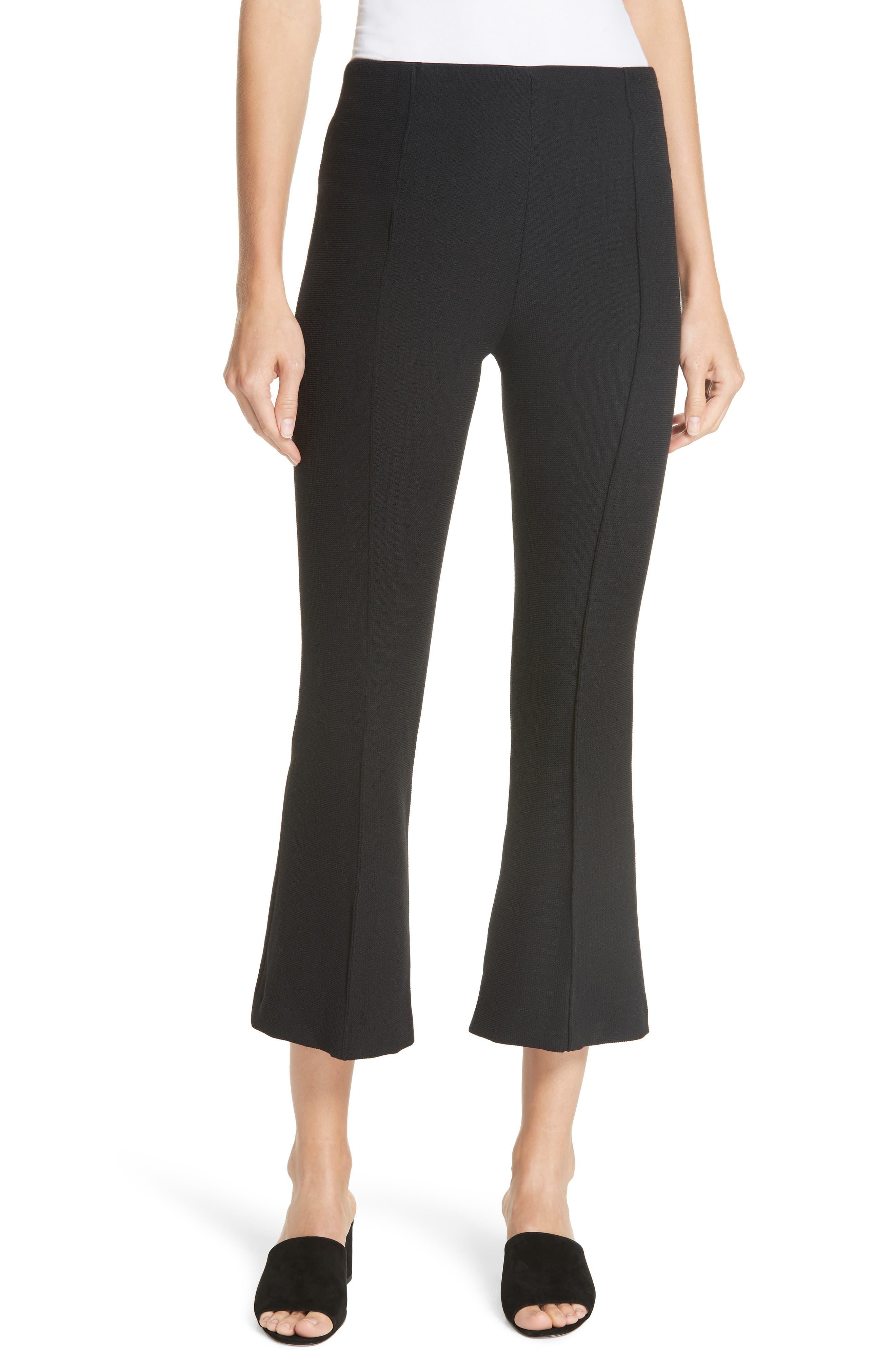 Pull-On Wool Blend Crop Flare Pants,                         Main,                         color, BLACK PIQUE
