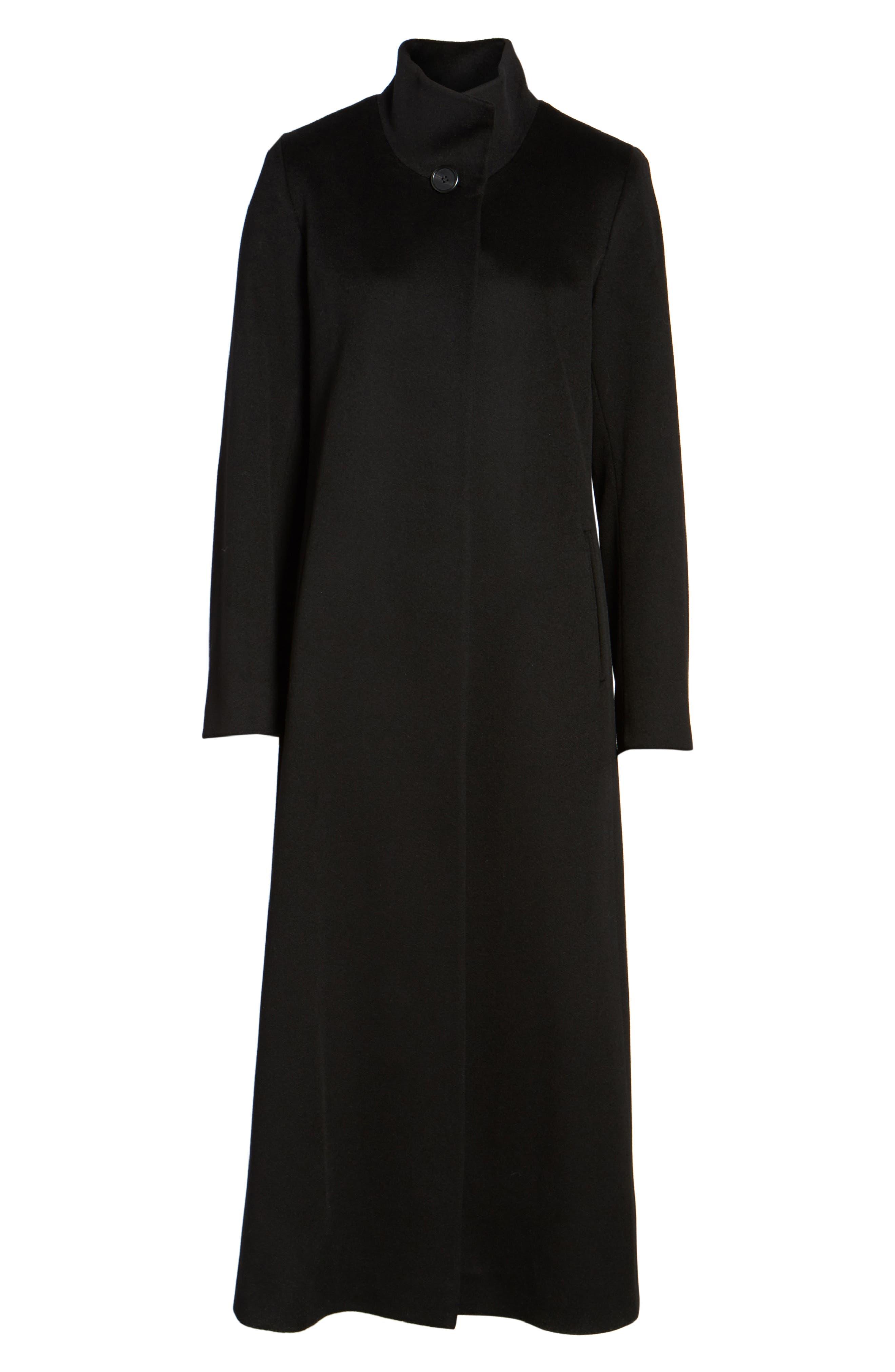 Long Wool Coat,                             Alternate thumbnail 6, color,                             001