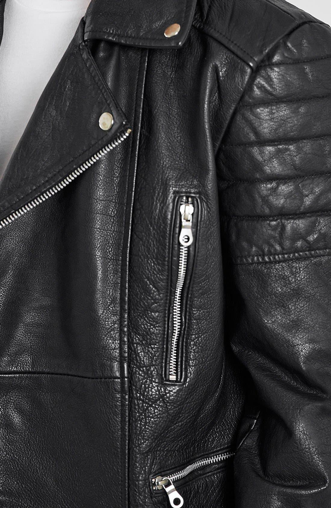 Washed Leather Moto Jacket with Waist Belt,                             Alternate thumbnail 3, color,                             001