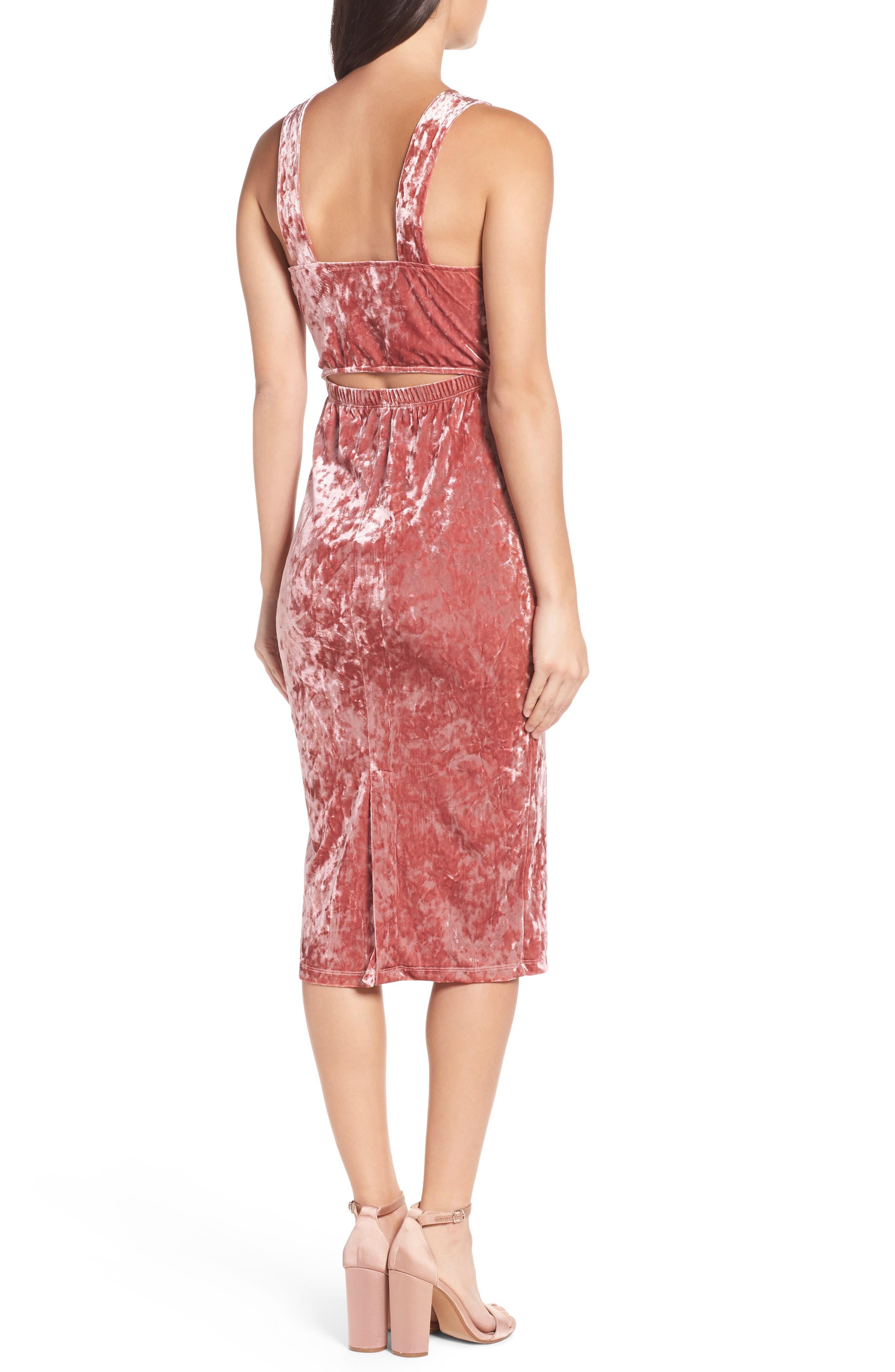 Velvet Midi Dress,                             Alternate thumbnail 2, color,                             ICE PINK