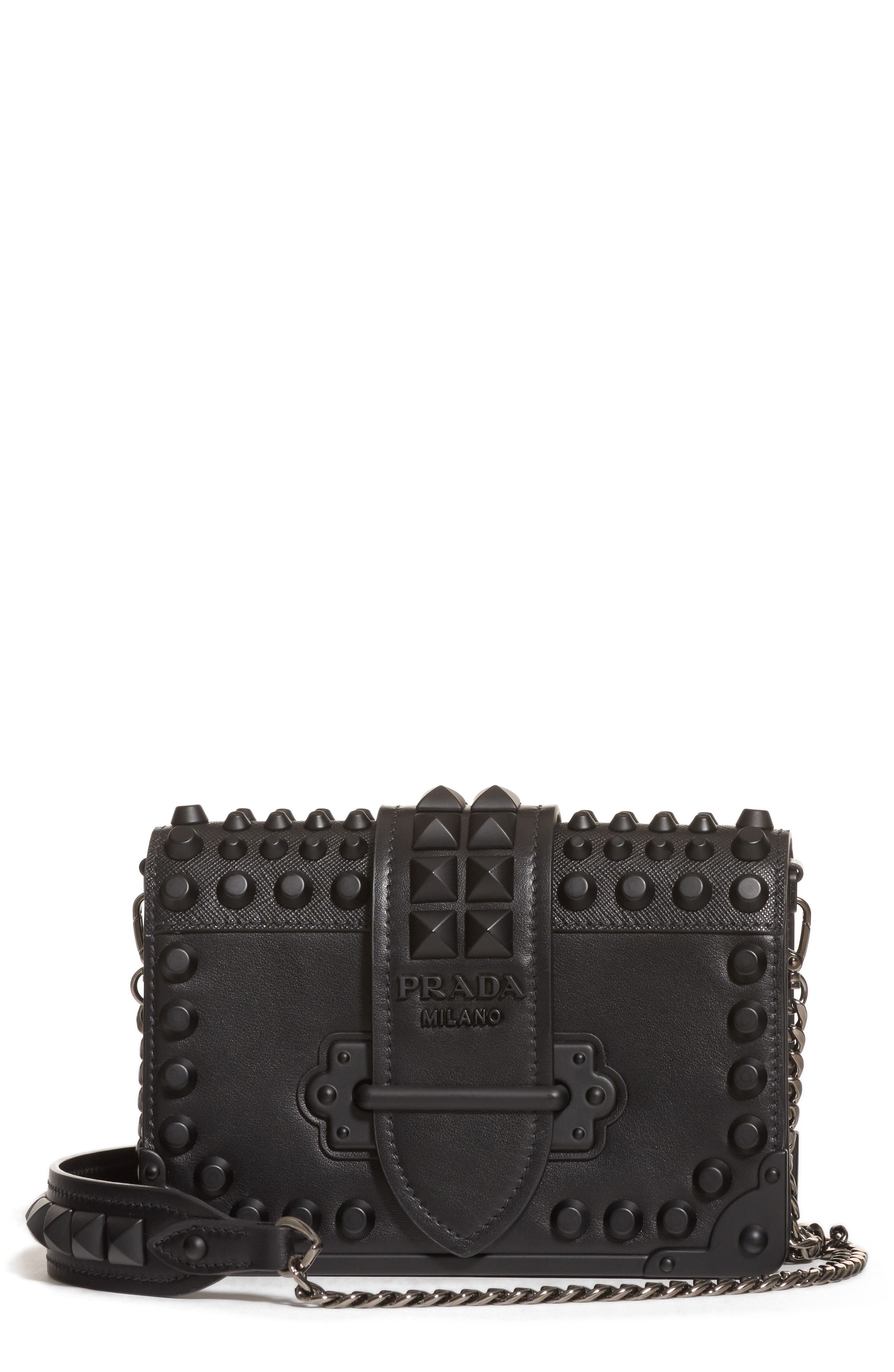 PRADA,                             Cahier Studded Leather Crossbody Bag,                             Main thumbnail 1, color,                             NERO/ NERO