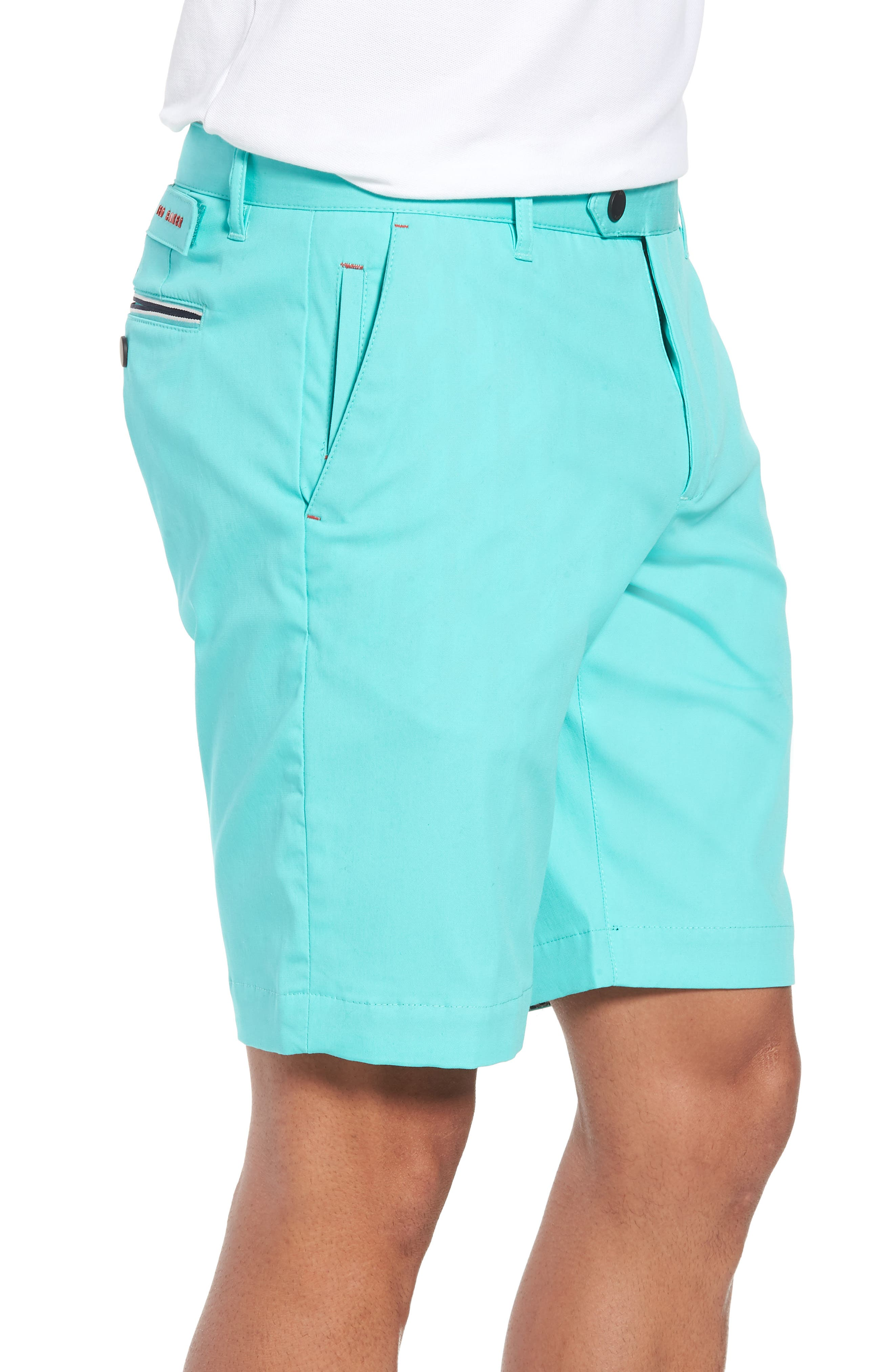 Twopar Flat Front Shorts,                             Alternate thumbnail 3, color,                             GREEN